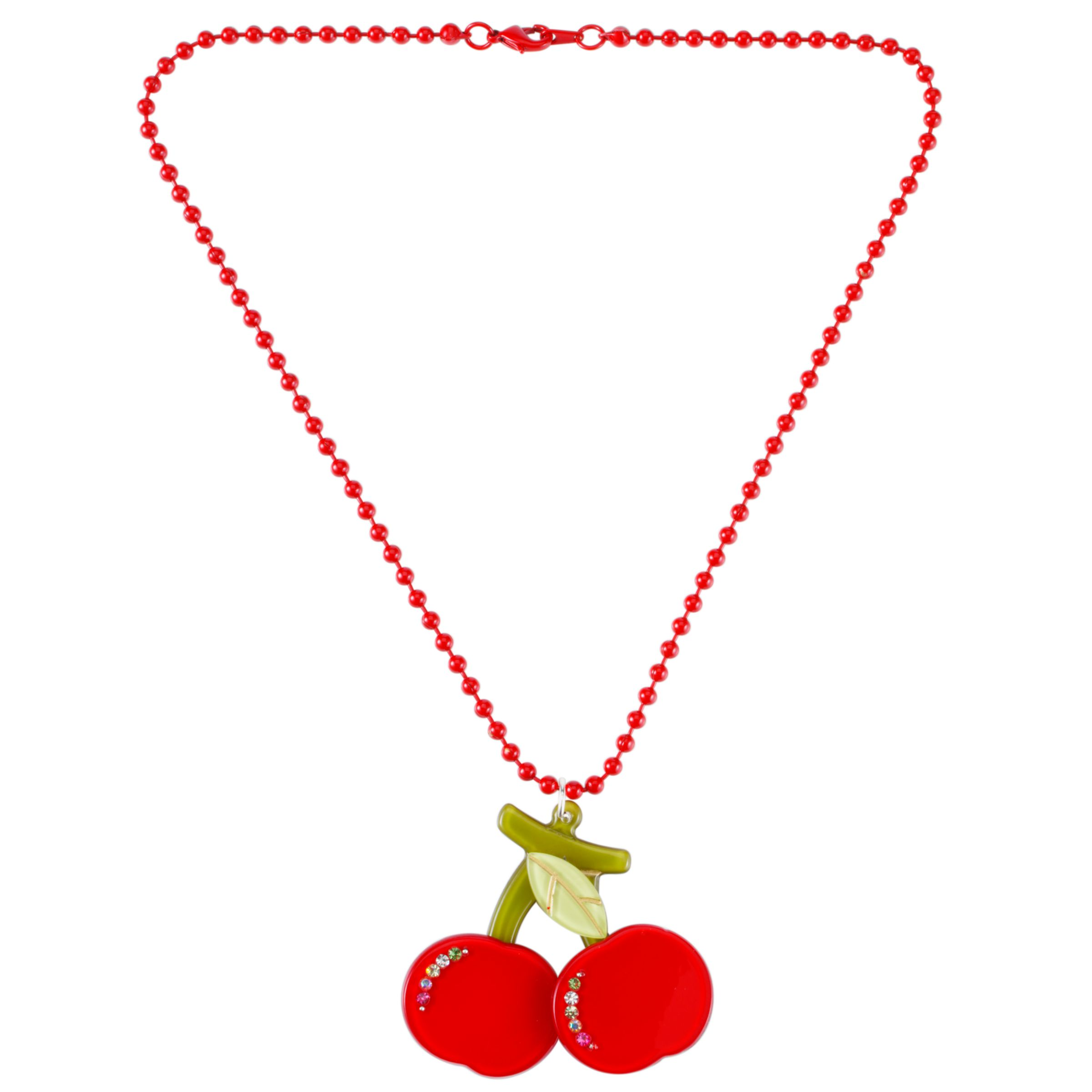 Big Baby Fruit Cherry Pendant Necklace, Red