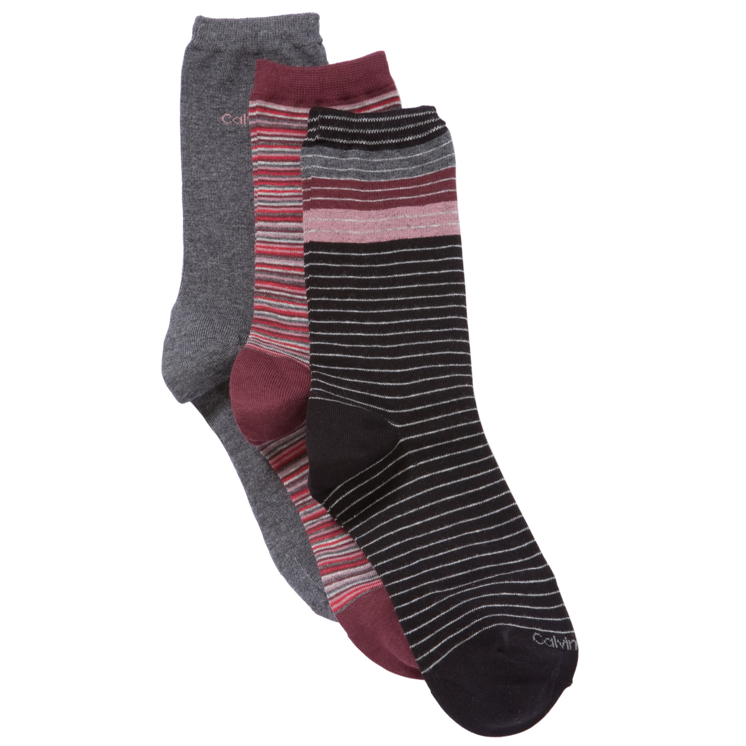 Calvin Klein Stripe Crew Socks, Pack of 3, Multi