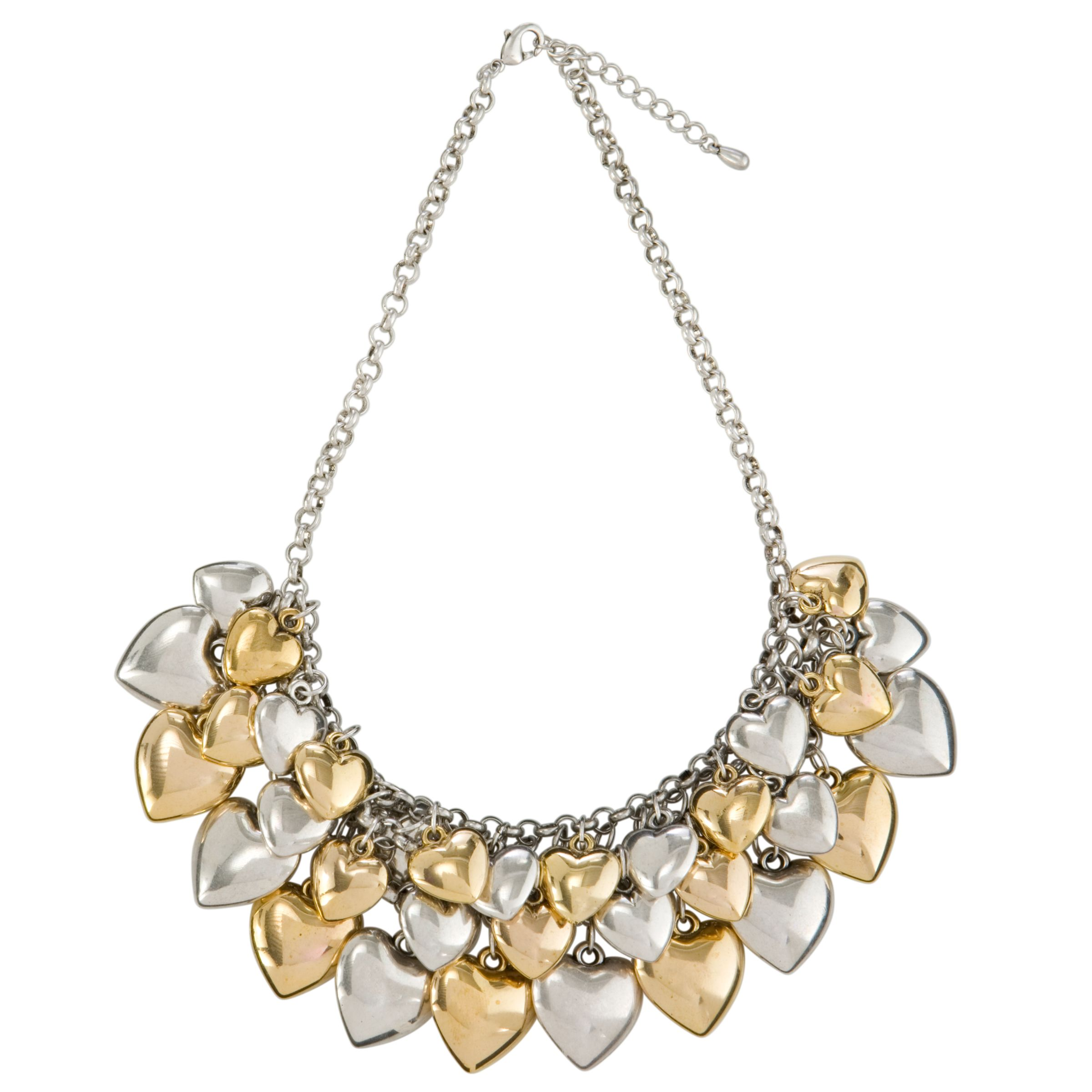 Adele Marie for Two Tone Gold and Silver Plated Multiple Heart Necklace