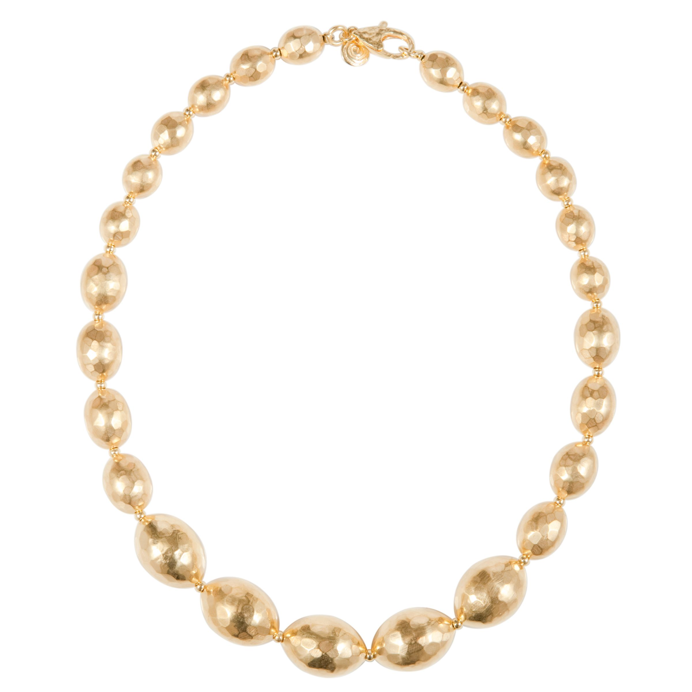 Etrusca 18ct Gold Plated Graduated Hammered Bead Necklace