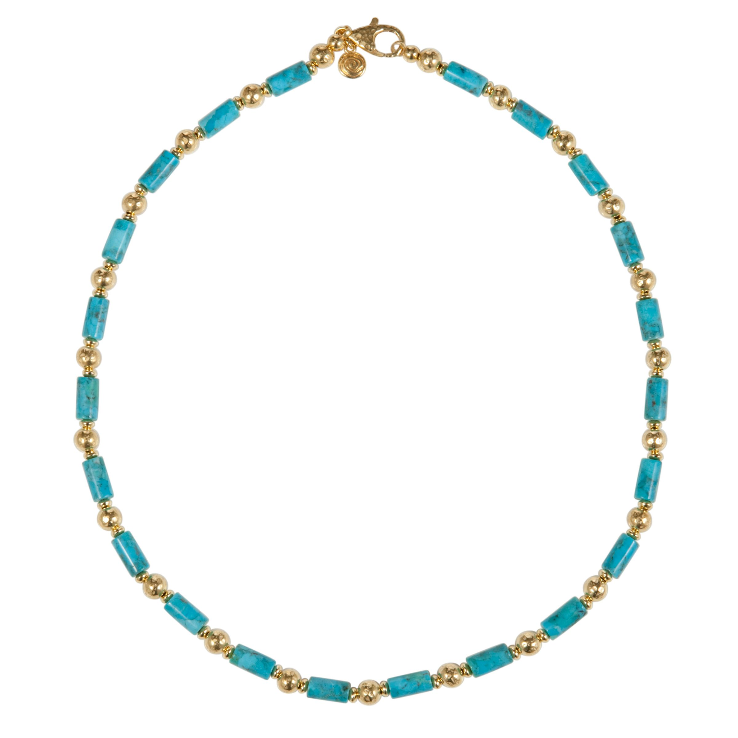 Etrusca 18ct Gold Plated Hammered Bead and Turquoise Necklace