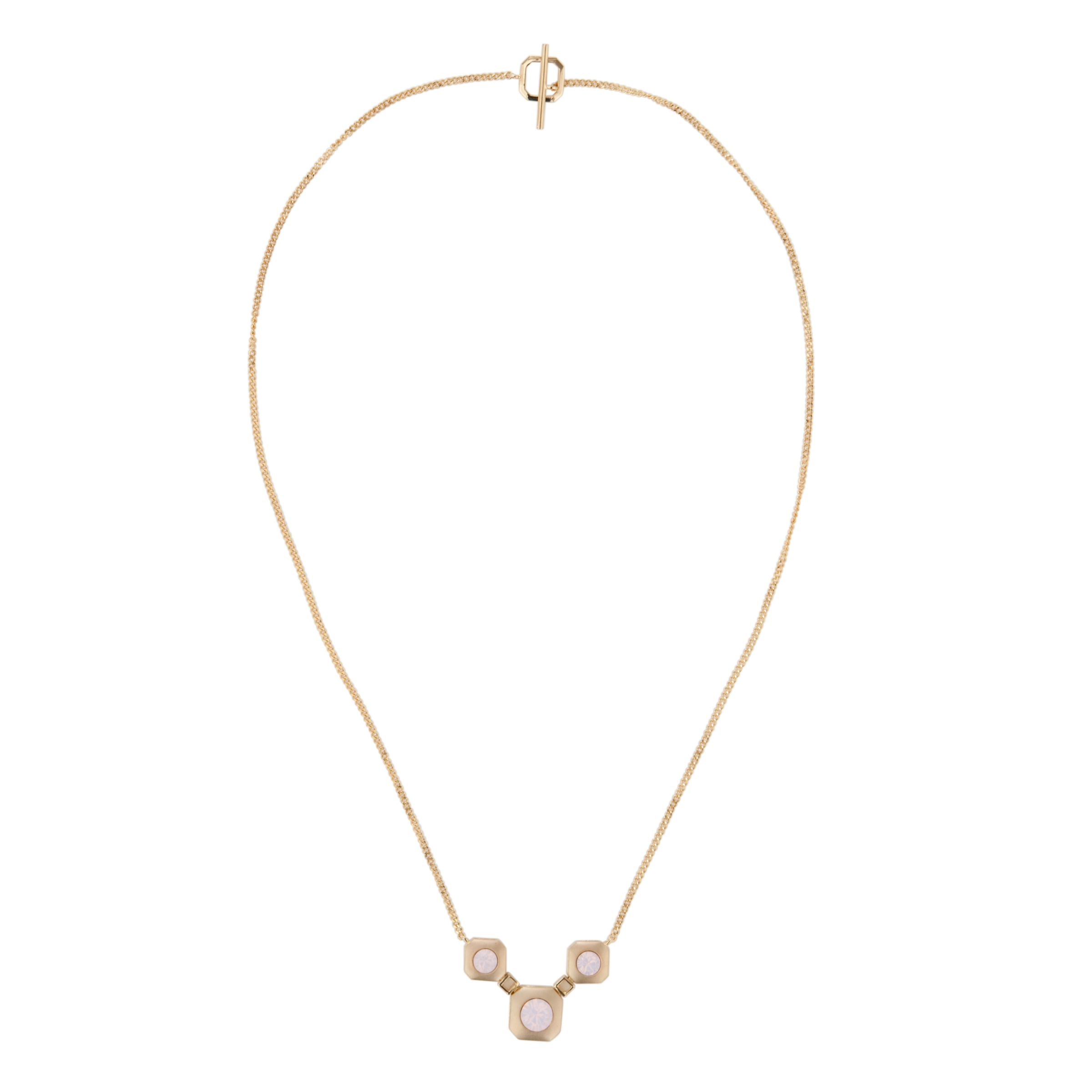 Inara Gold Plated 3 Pink Crystal Pendant Necklace