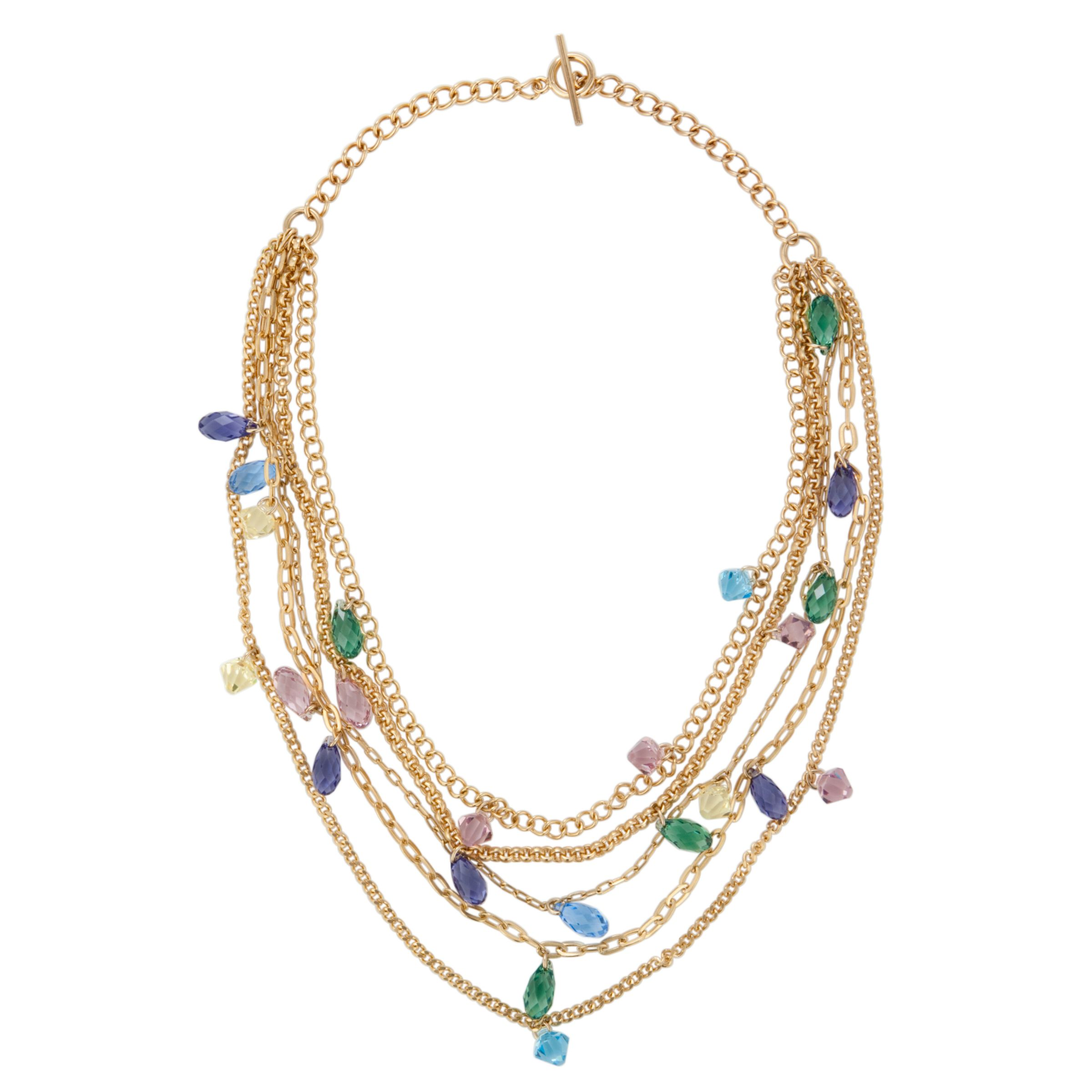 Inara Gold Plated 5 Row Multi Crystal Necklace