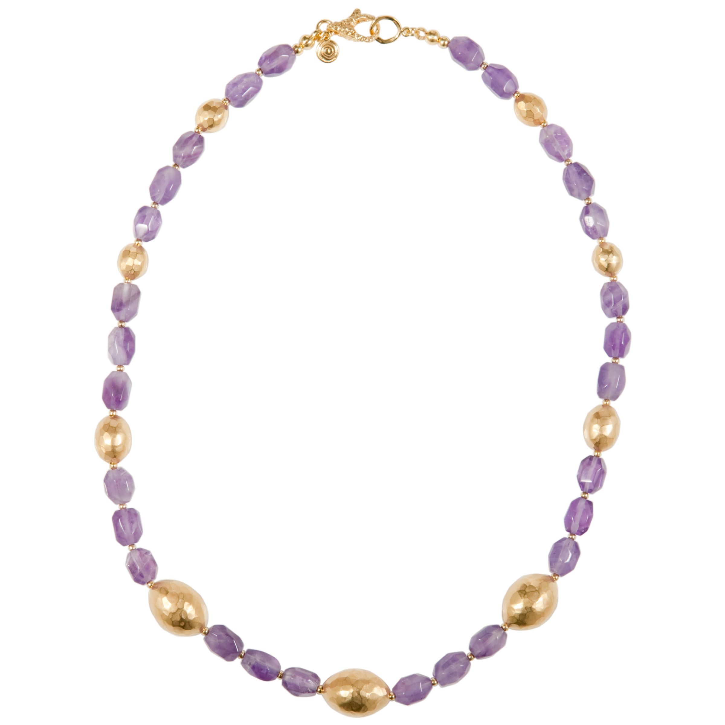 Etrusca 18ct Gold Plated Hammered Bead Gemstone Necklace