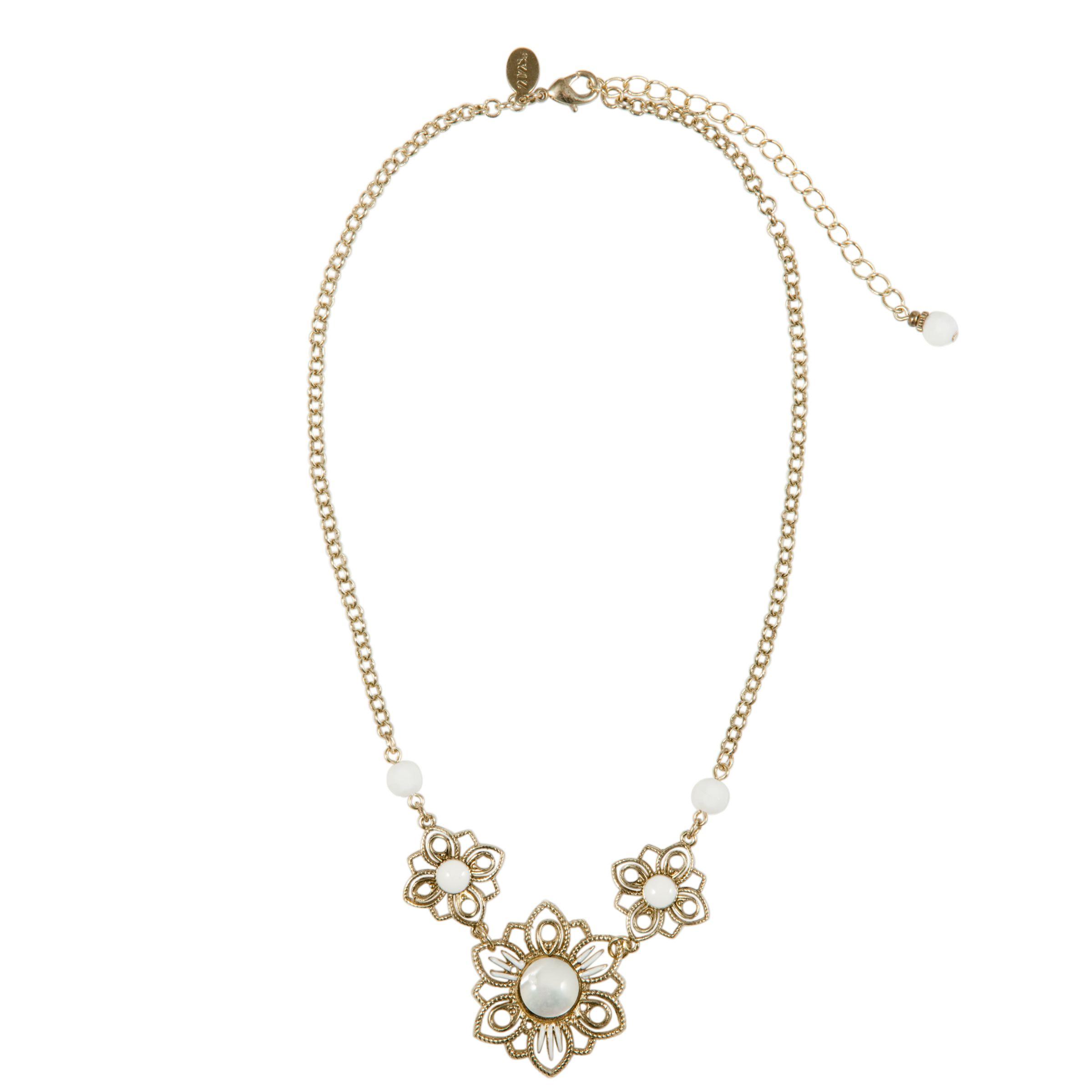 1928 New York Ivory Coast Vintage Brass Filigree Flower Pendant Necklace