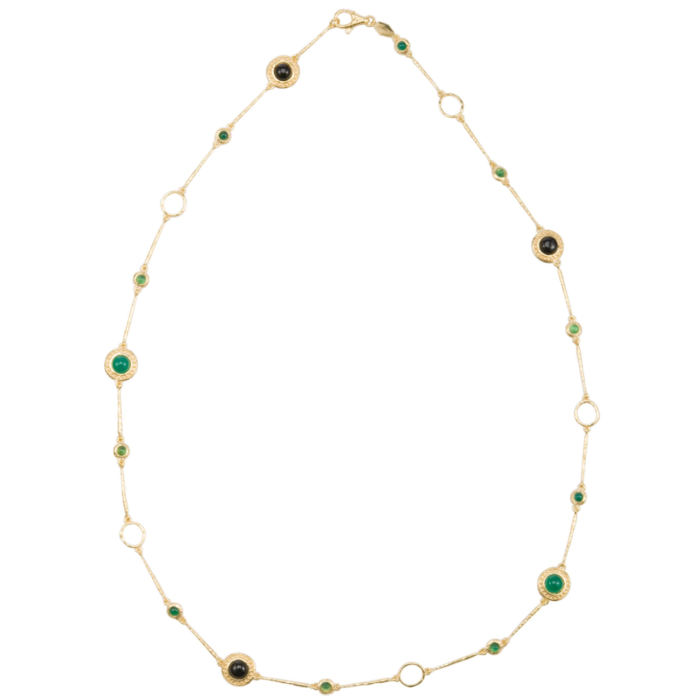 Etrusca 18ct Gold Plated Cabochon Station Necklace, Gold/Green