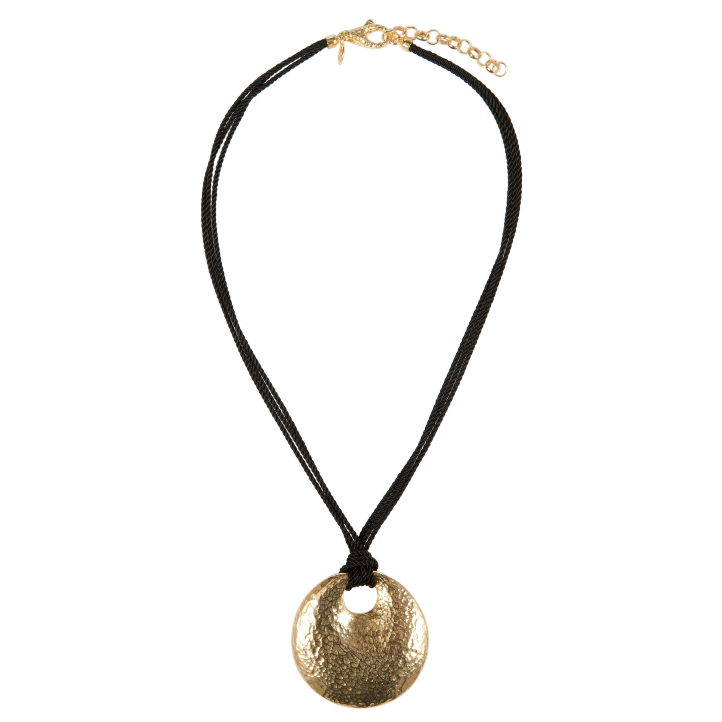 Etrusca Round Hammered Pendant Black Cord Necklace
