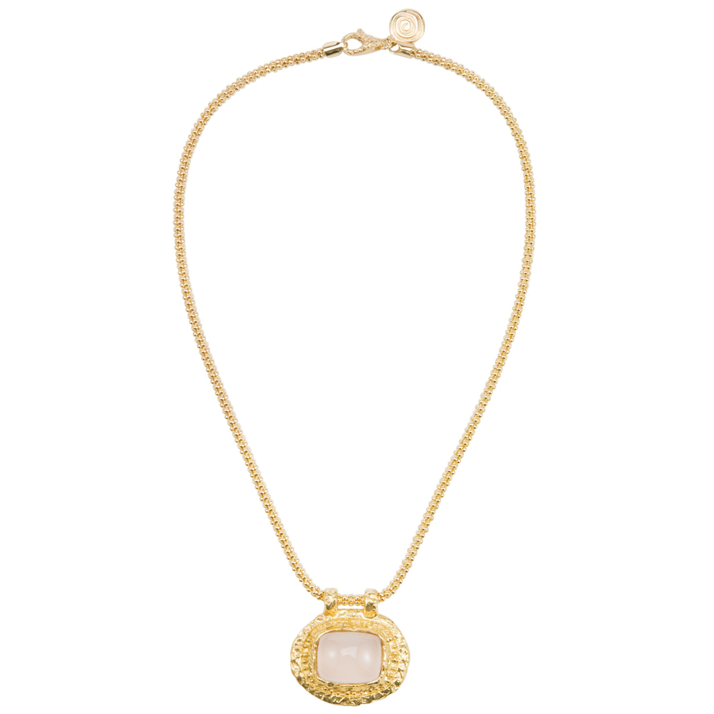 Etrusca Hammered Slide Disc Rose Quartz Pendant Necklace
