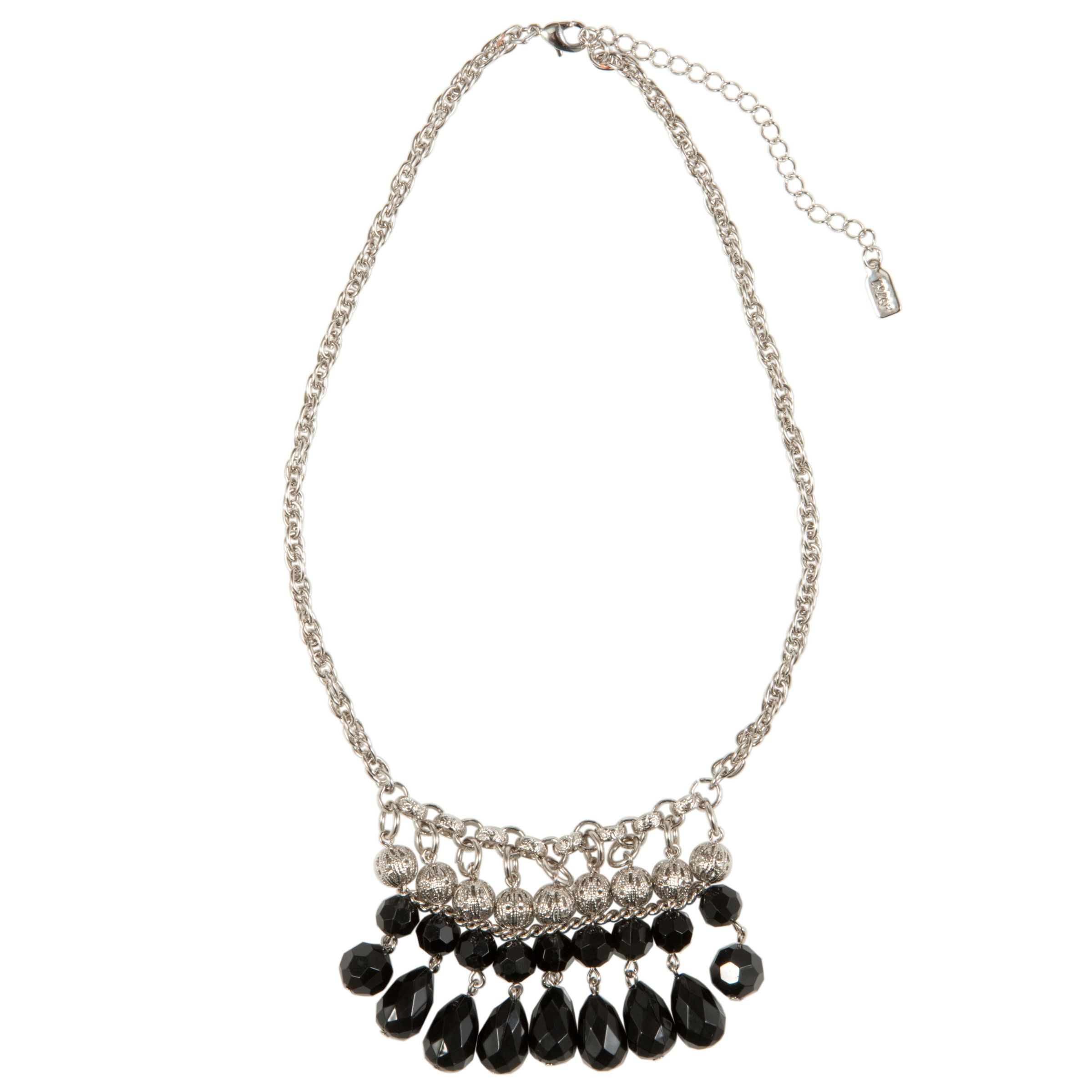1928 New York Day by Night Silver Tone Black Bead Chandelier Necklace