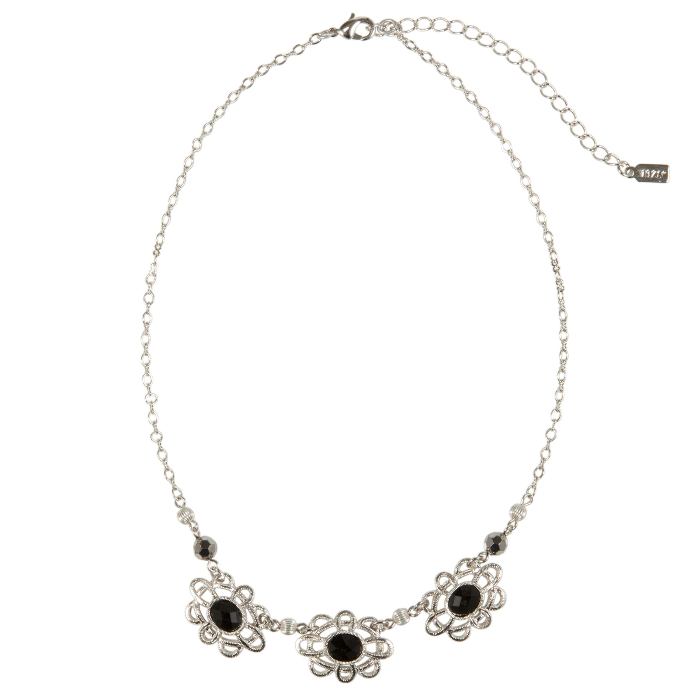 1928 New York Day by Night Silver Black Flower Necklace