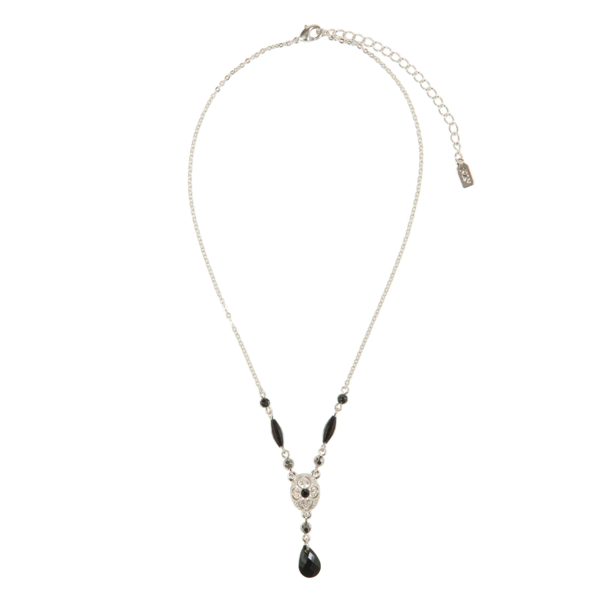 1928 New York Day by Night Silver Tone Black Onyx Y Necklace