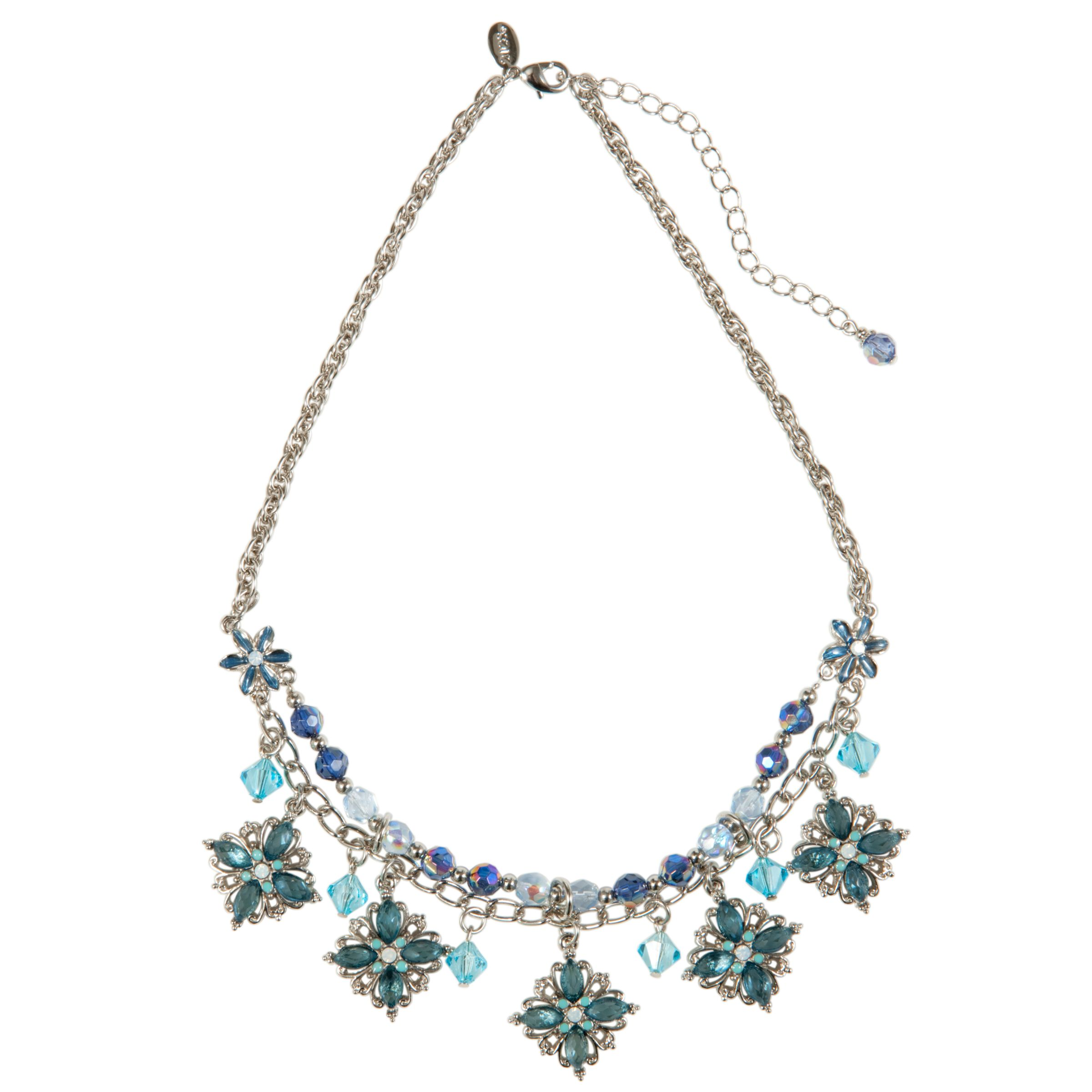 1928 New York Seabreeze Aquamarine Short Flower Bib Necklace