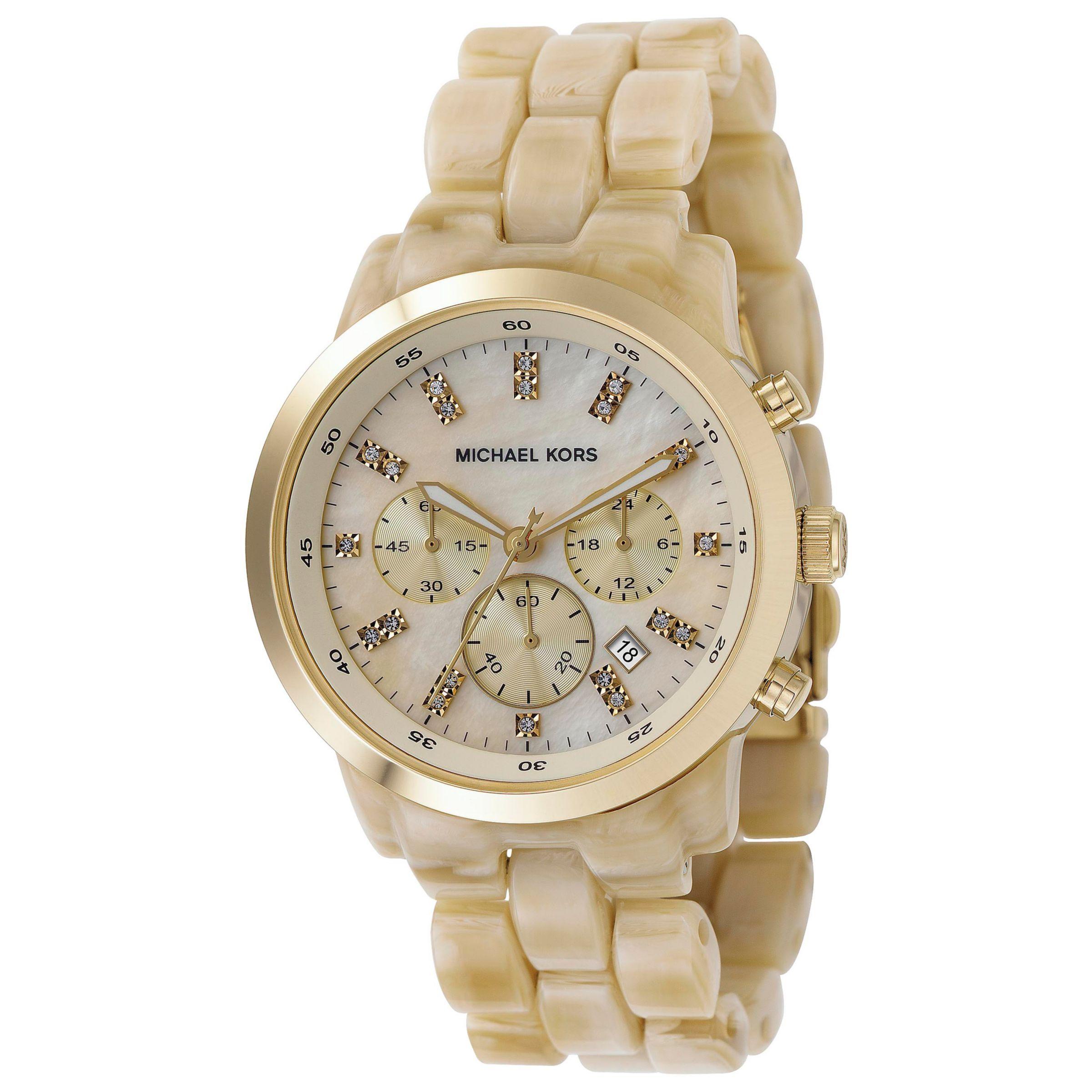 Michael Kors MK5217 Women's Chronograph Oversized Horn Watch, Horn
