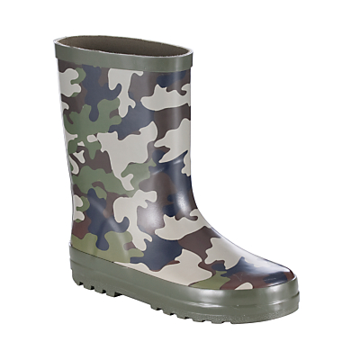 John Lewis Boy Camouflage Wellingtons, Green/Brown
