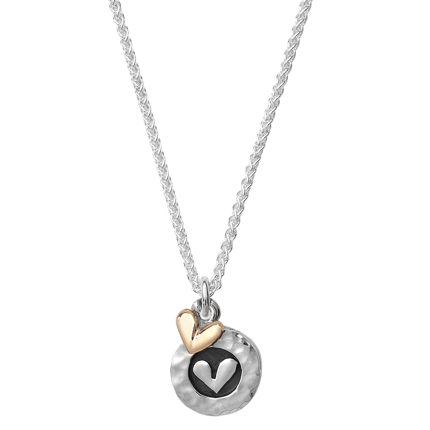 Linda Macdonald Silver Heart Disc with Gold Heart Pendant Necklace, Silver/Gold
