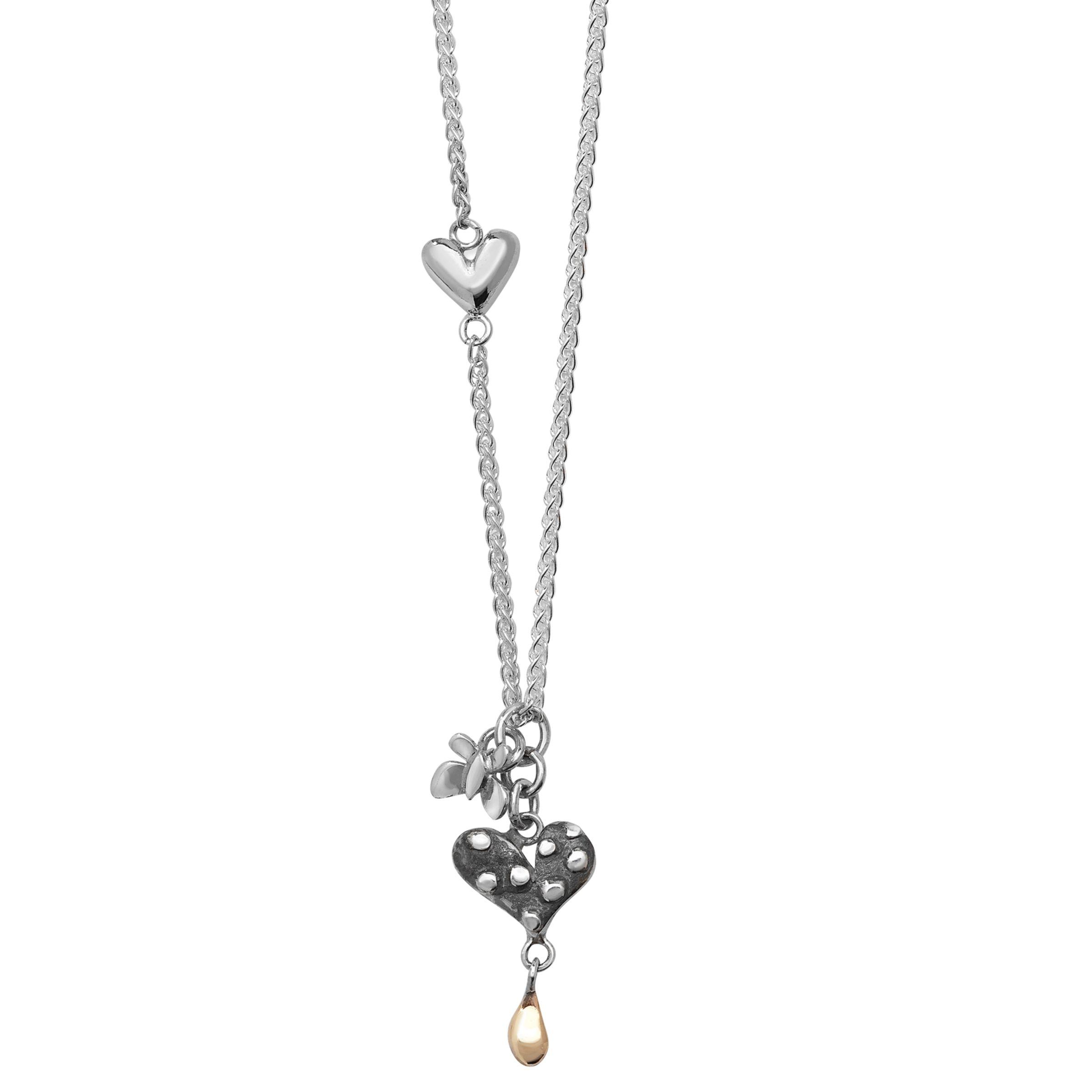 Linda Macdonald Dotty Heart Butterfly Gold Dew Drop Necklace