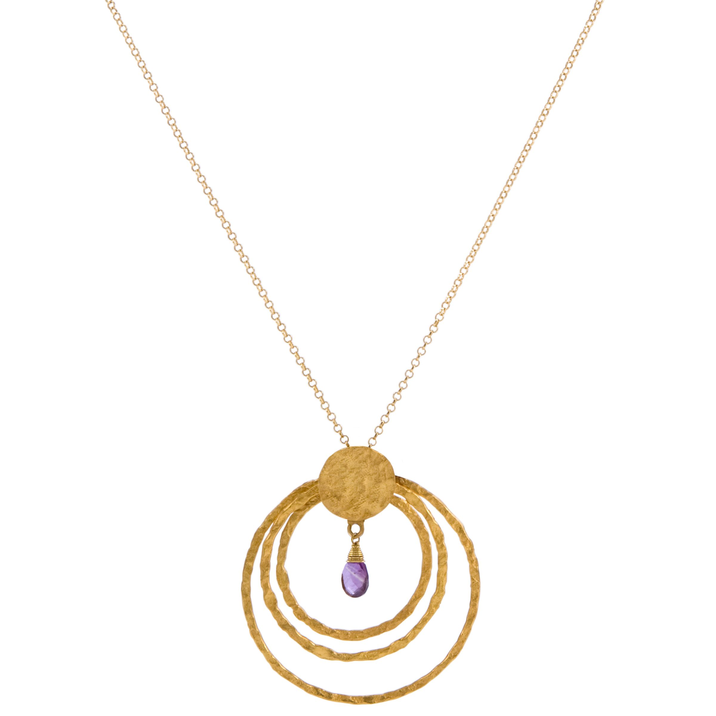 Azuni Triple Hoop Necklace with Stone, Amethyst