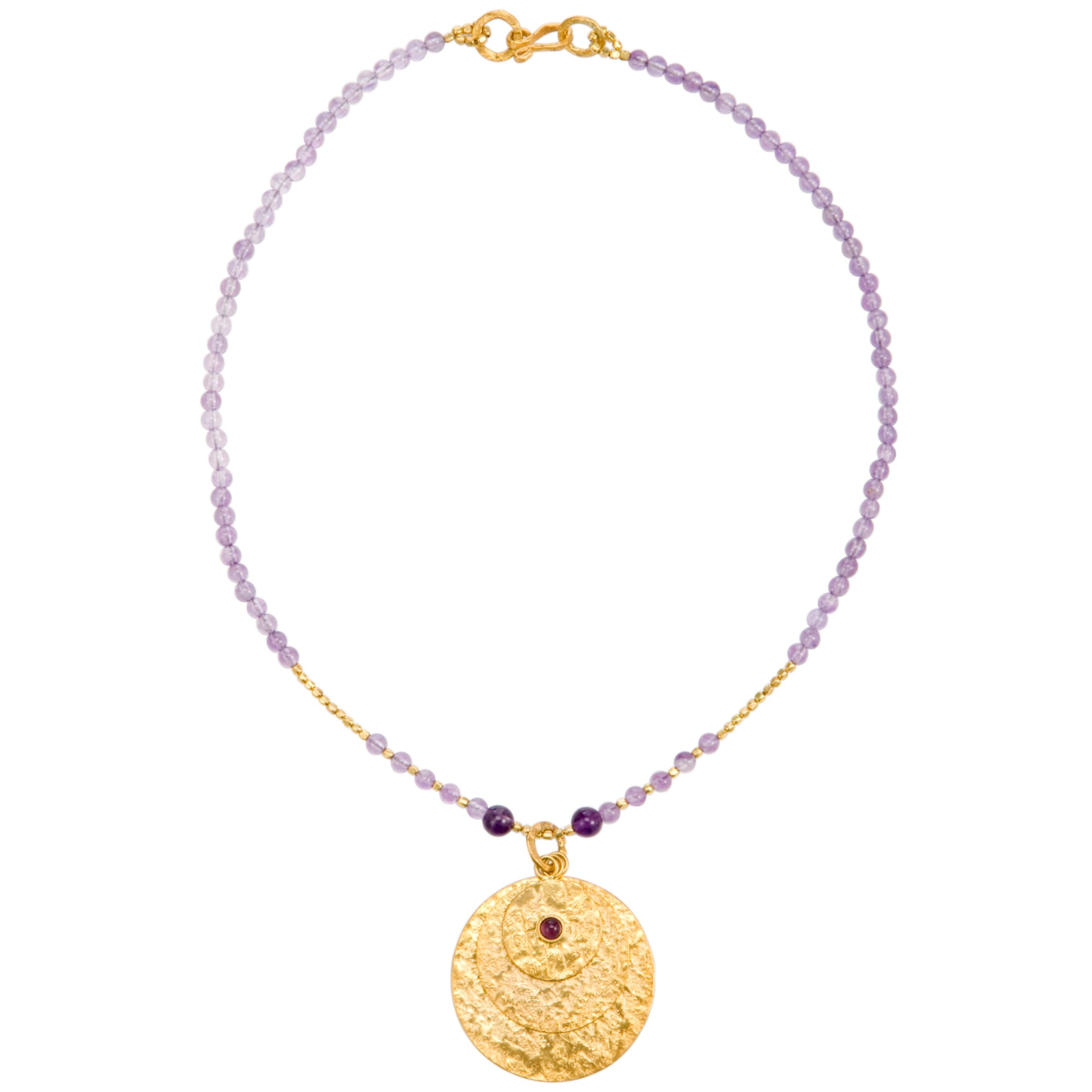 Azuni Gold Plated Triple Disc Necklace, Amethyst