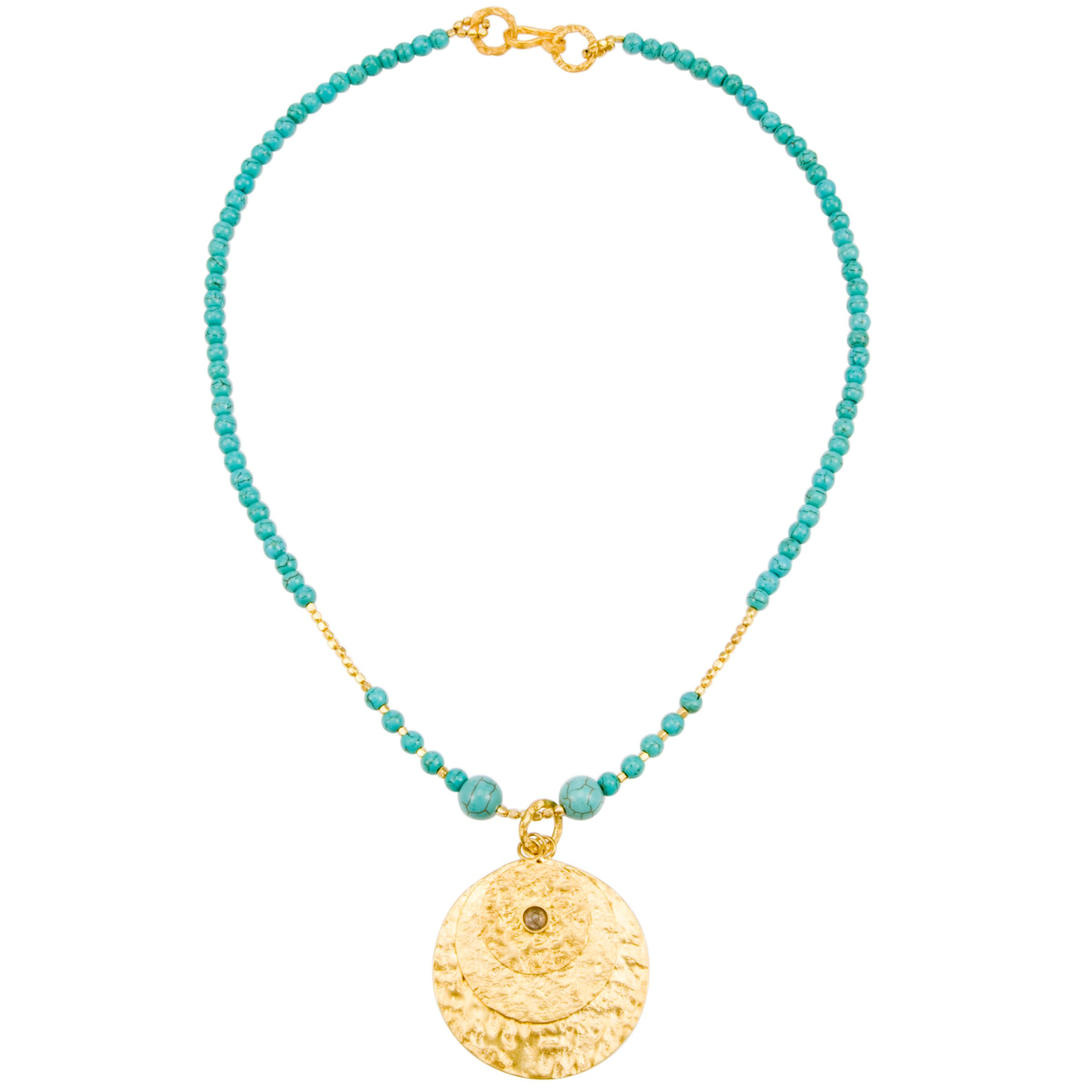 Azuni Gold Plated Triple Disc Necklace, Turquoise