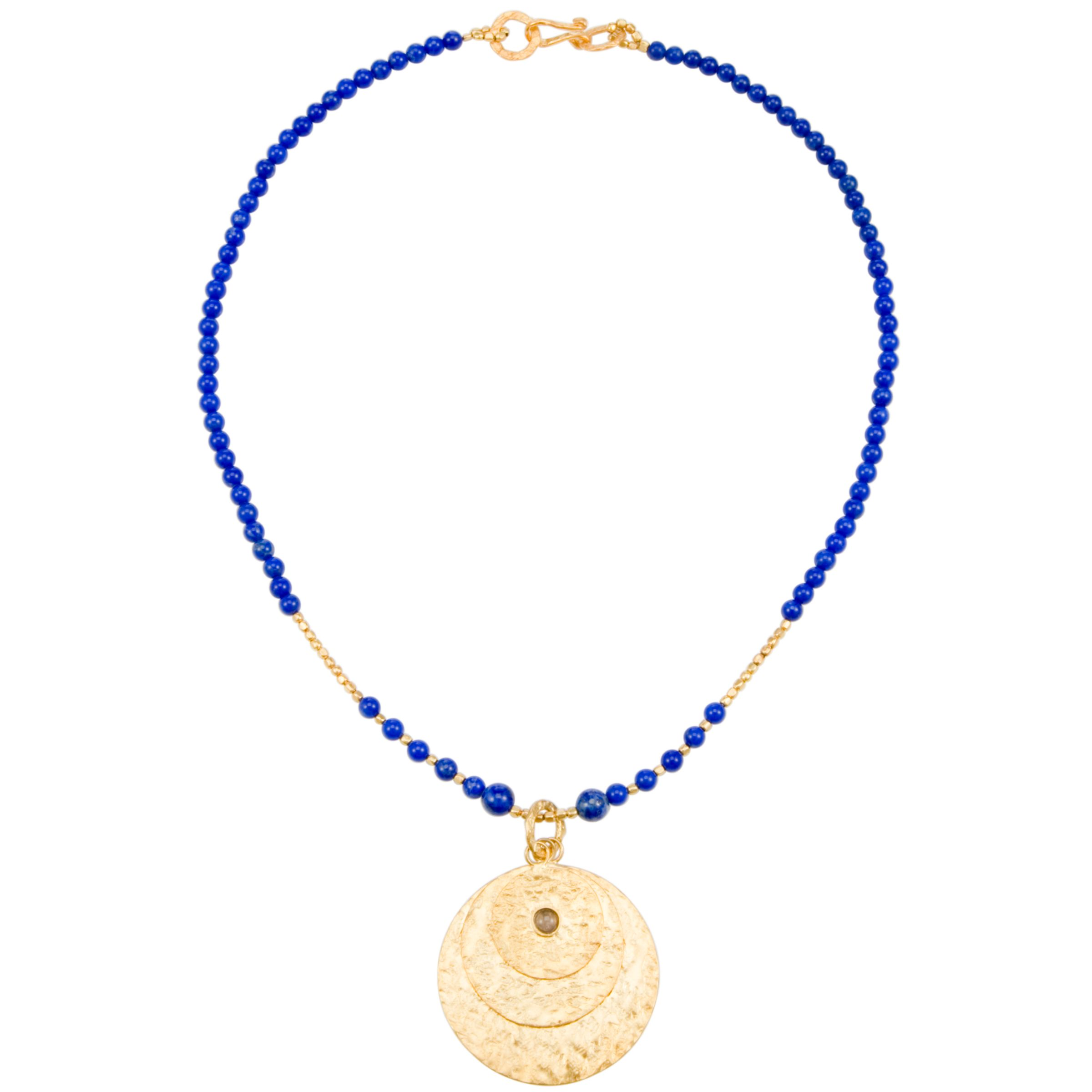 Azuni Gold Plated Triple Disc Necklace, Lapis blue