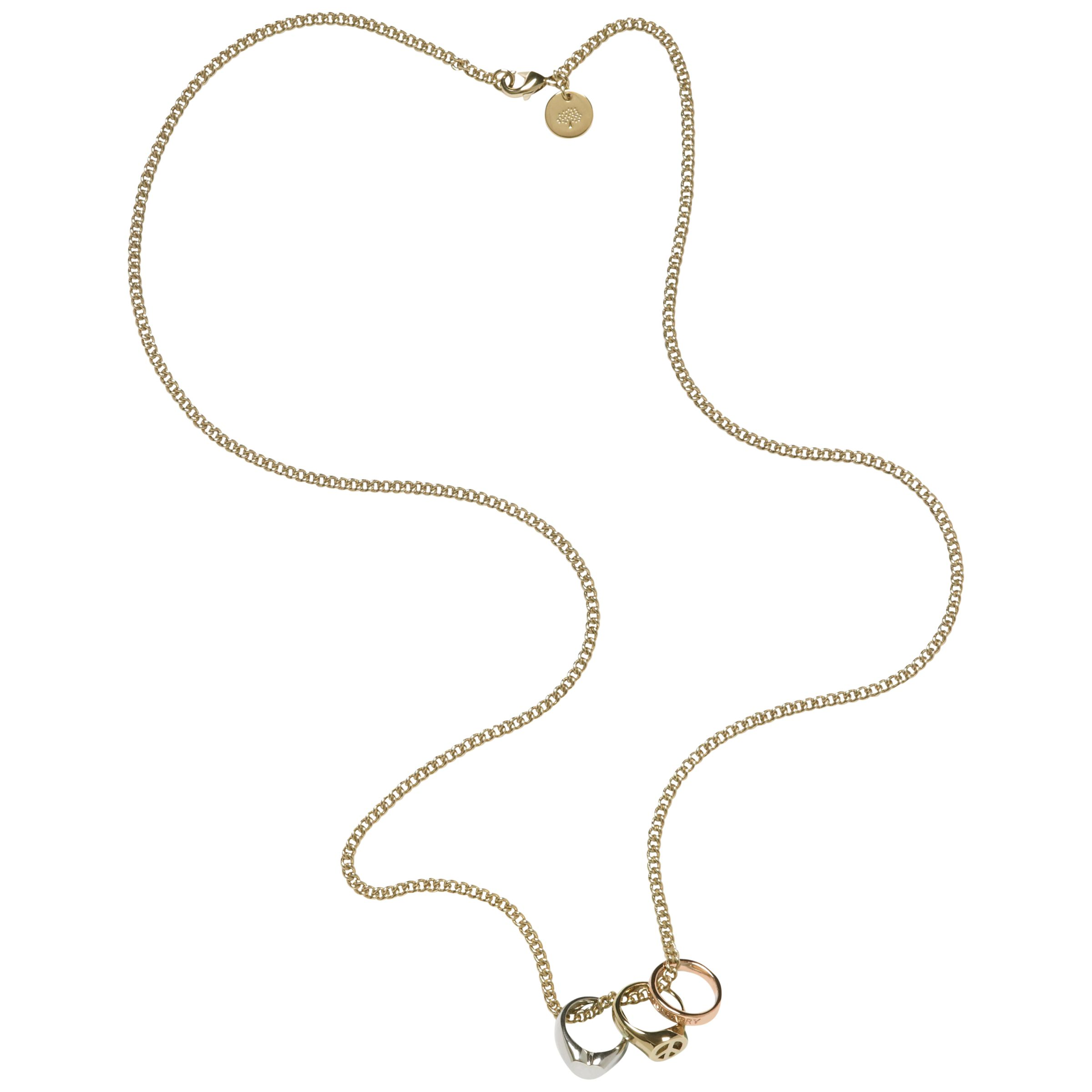 Mulberry Love And Peace Ring Necklace, Gold