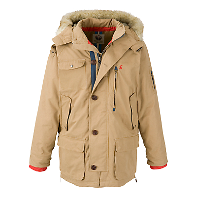 Joules Whistler Faux Fur Hooded Coat, Driftwood