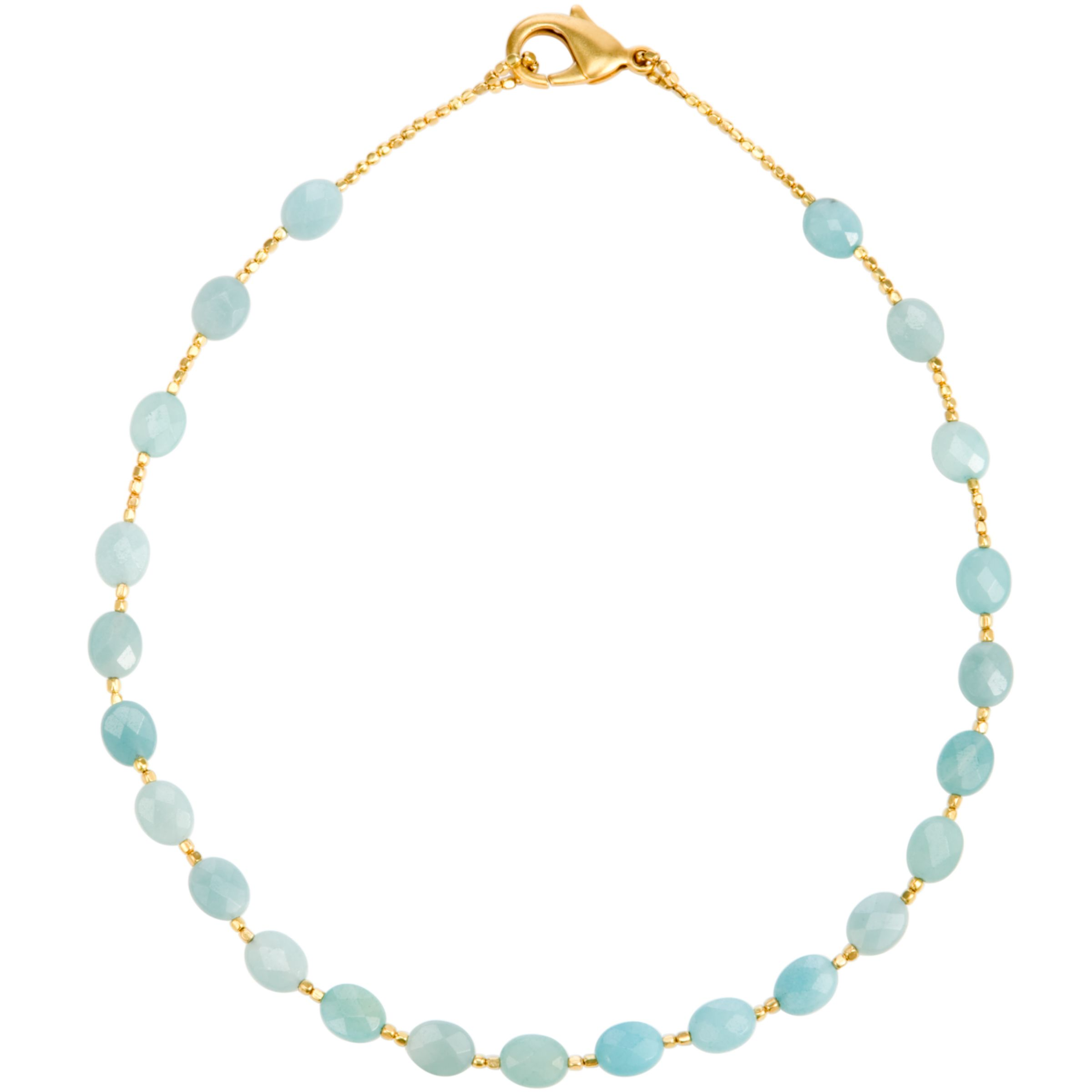 Azuni Oval Faceted Semi Precious Stone Oval Necklace, Amazonite
