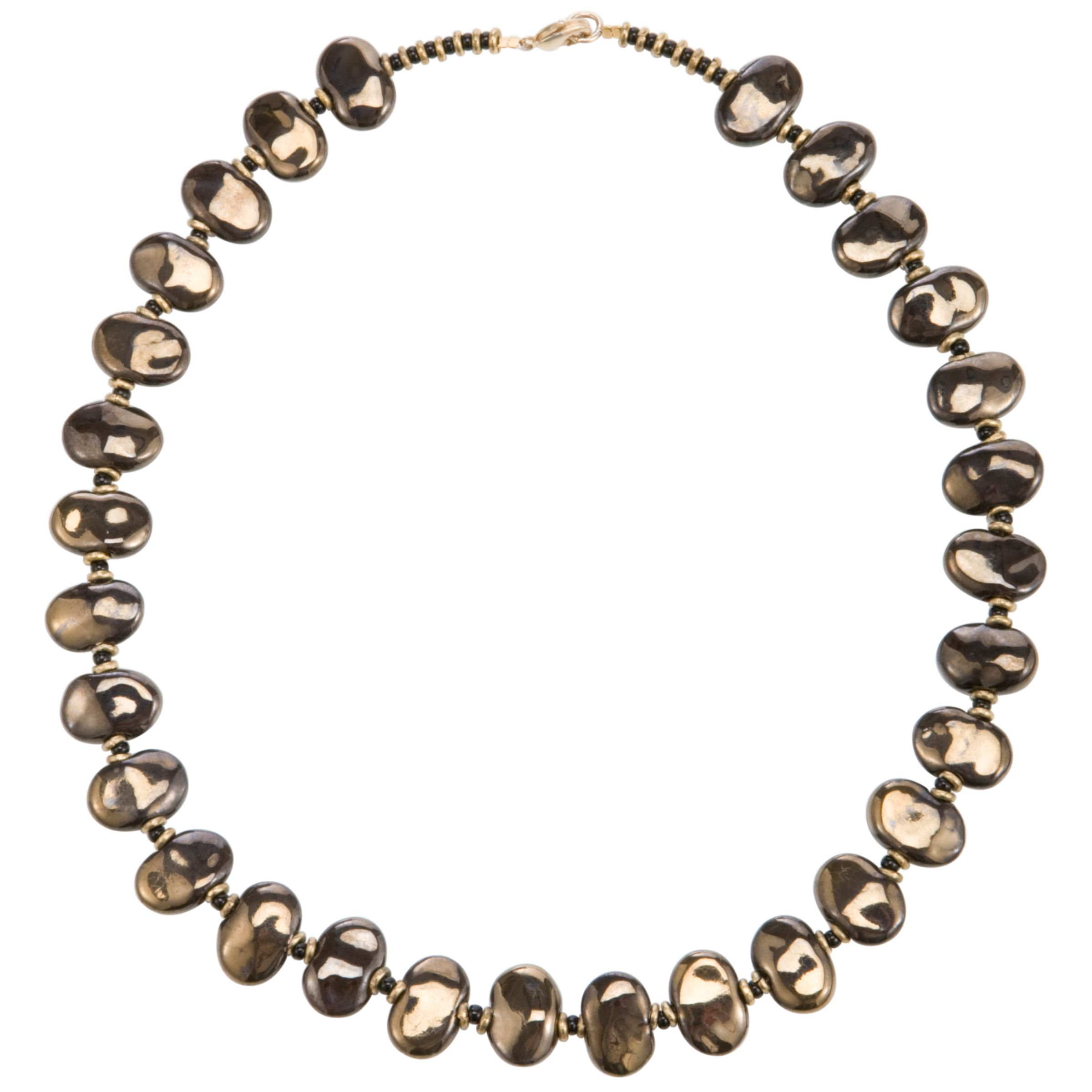 Kazuri Shale Gold Bead Necklace