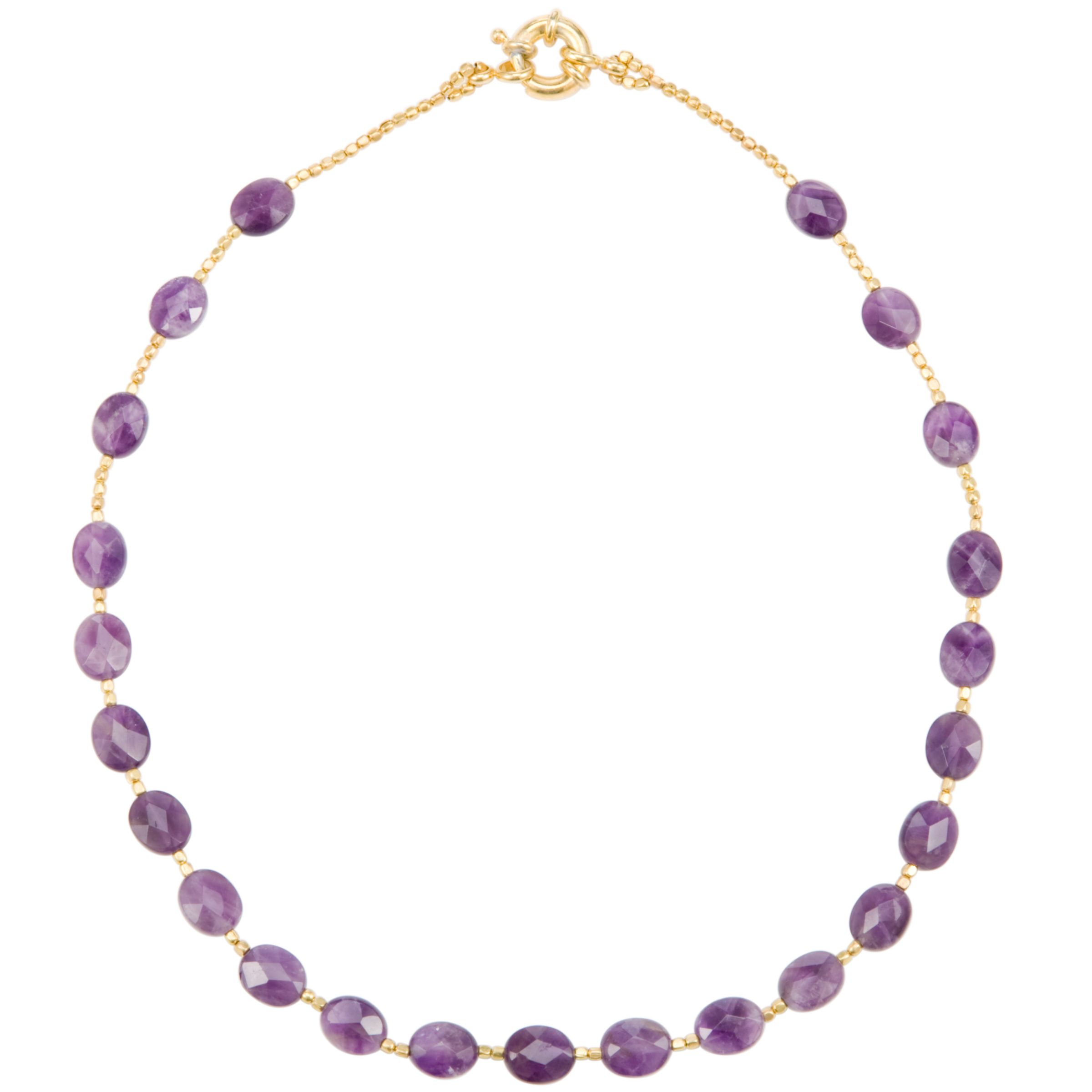 Azuni Faceted Semi Precious Stone Necklace, Amethyst