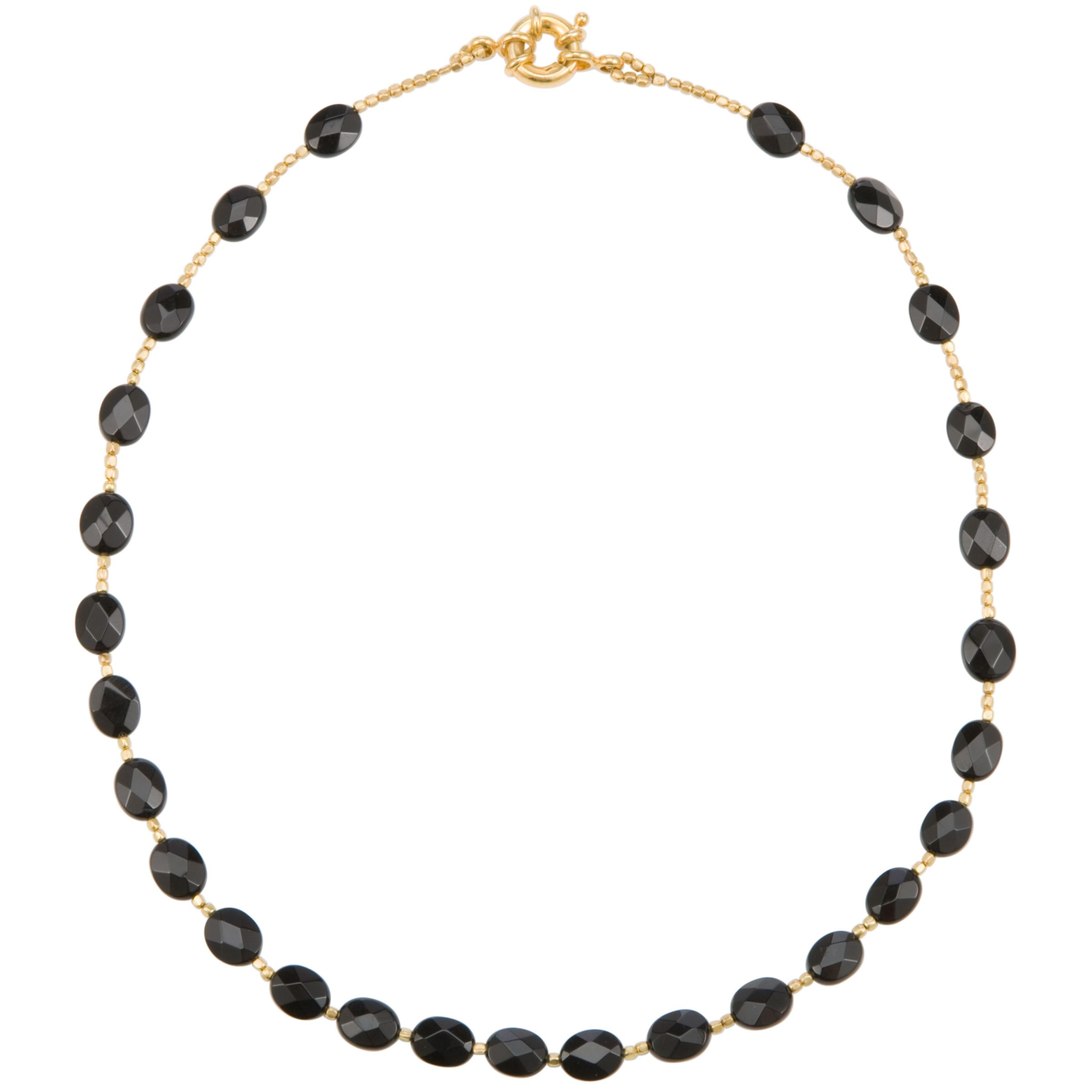 Azuni Faceted Semi Precious Stone Necklace, Onyx
