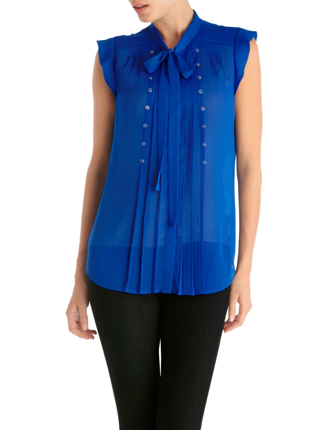 Oasis Crinkle and Button Tie Blouse, Blue product image