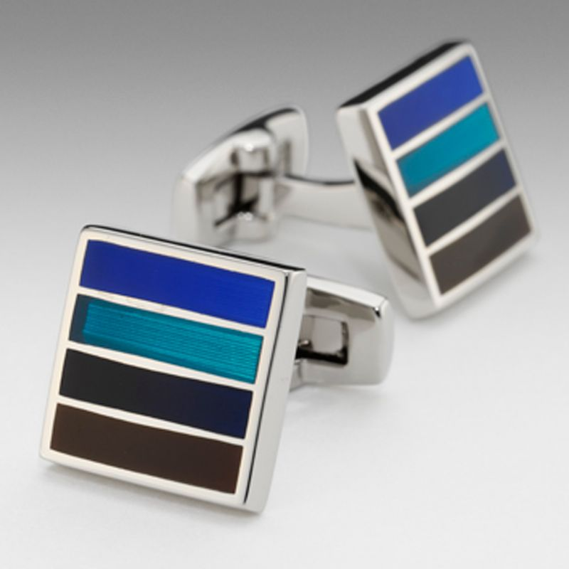 Bold Stripe Cufflinks, Blue