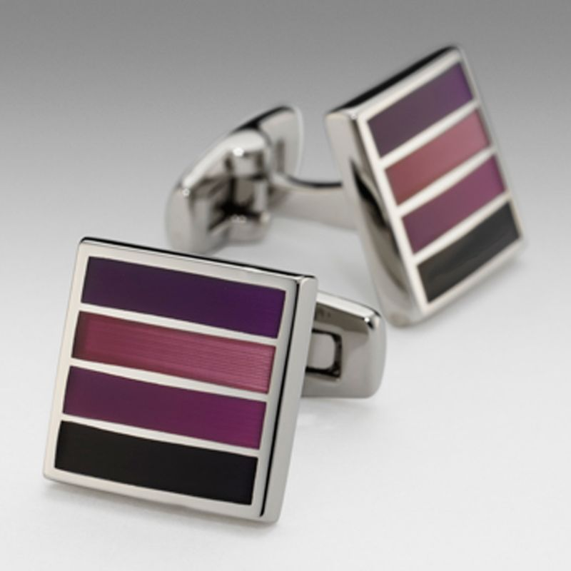 Duchamp Bold Stripe Cufflinks, Plum
