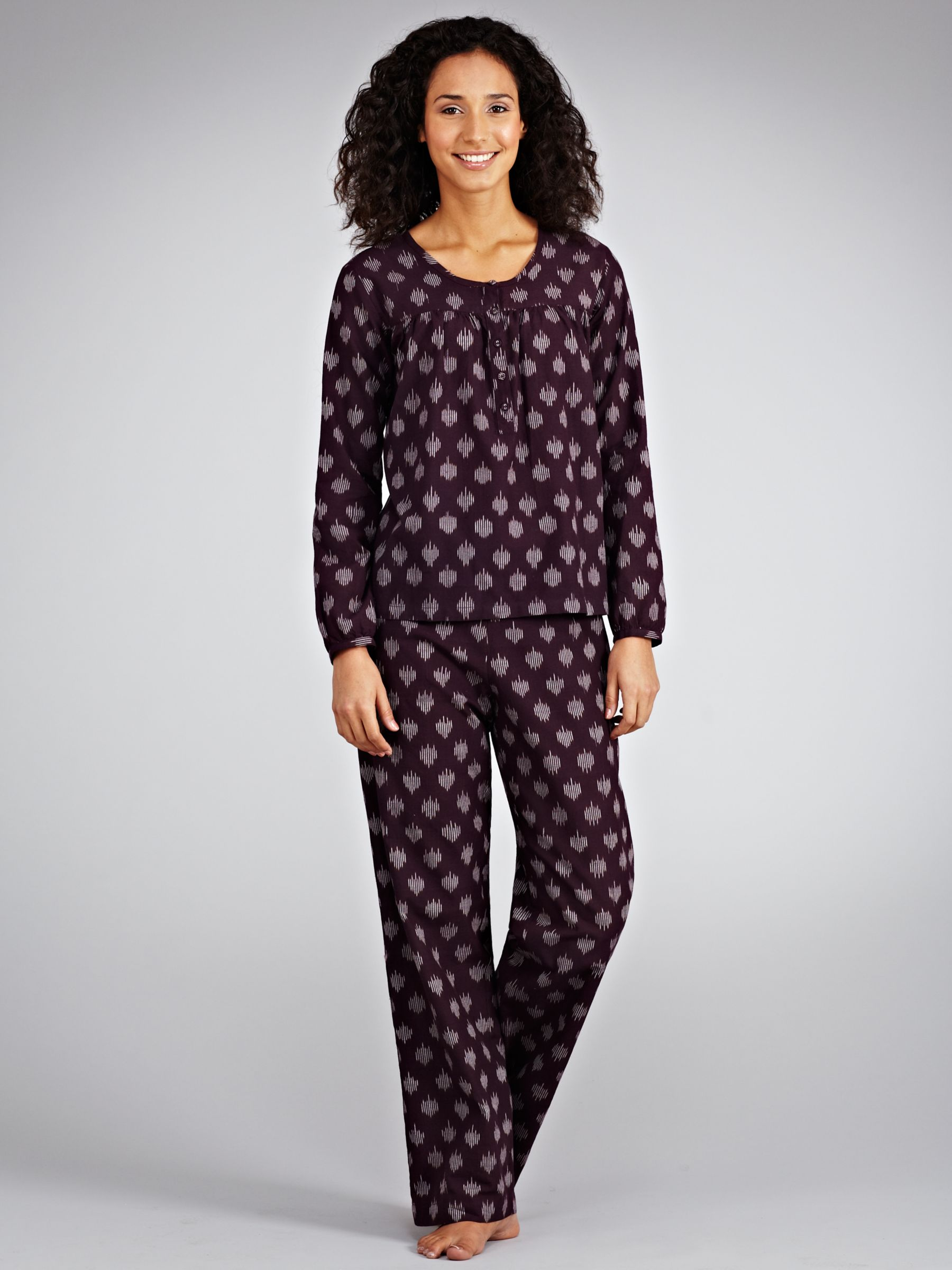Toast Ikat Print Cotton Pyjama Set, Aubergine/ off white