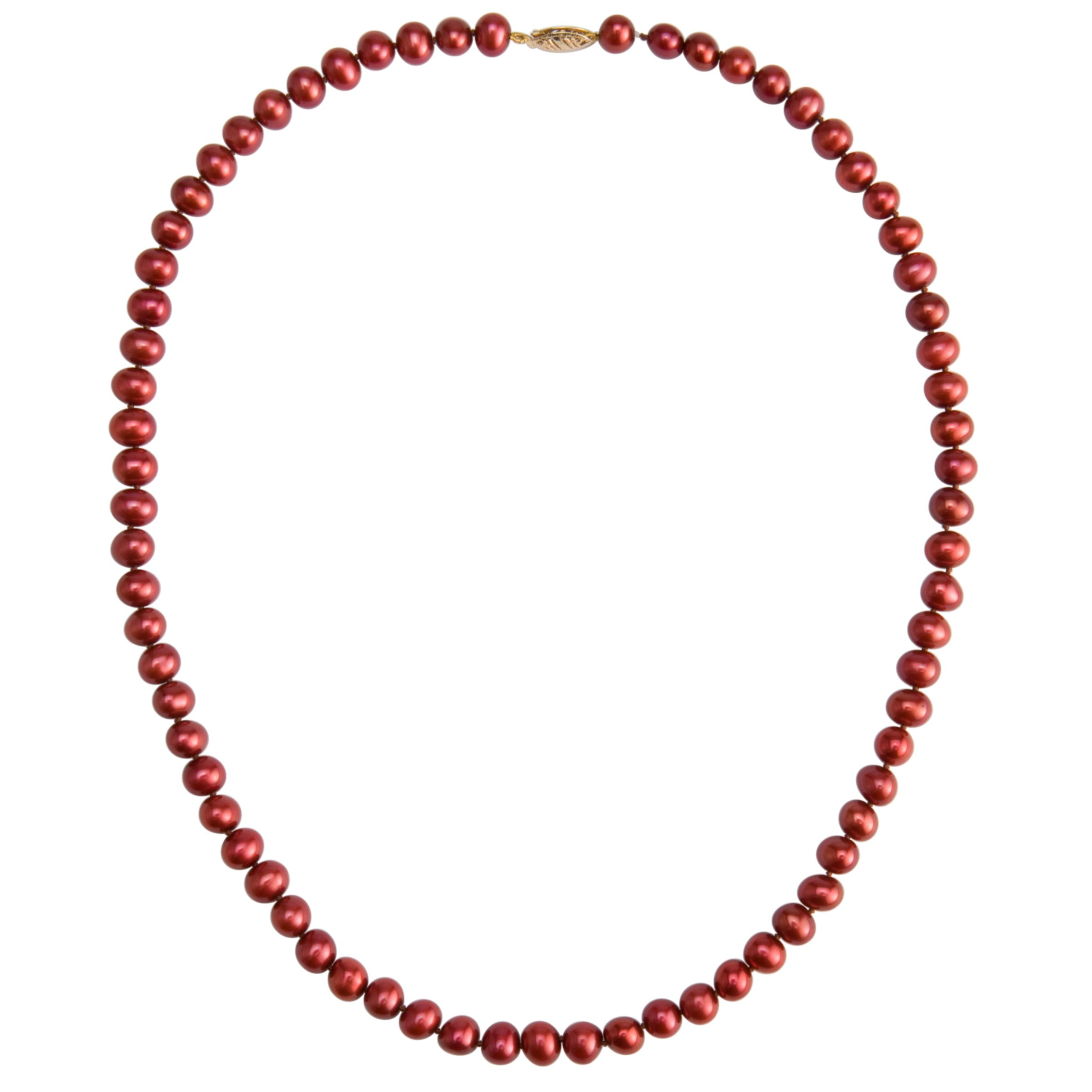 Freshwater Pearl Necklace, Cranberry