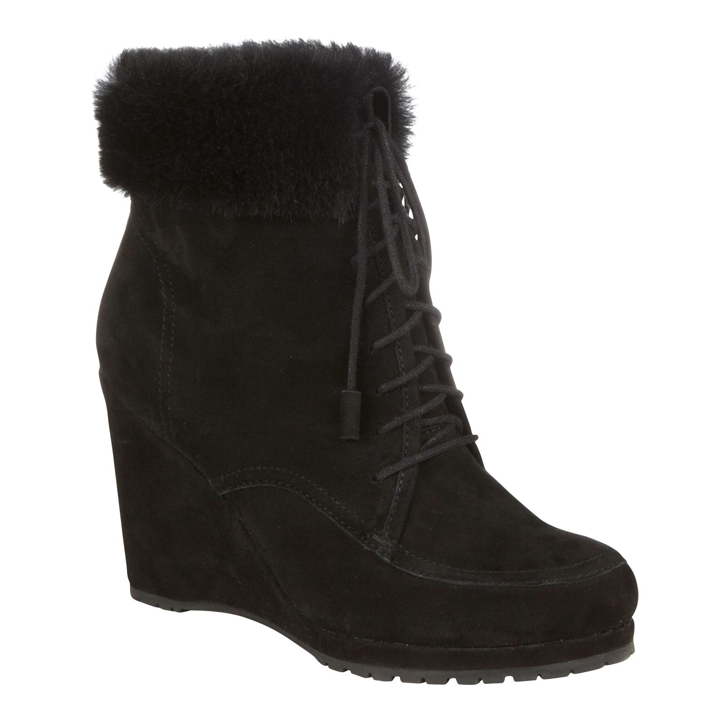 LK Bennett Charing Fur Trim Lace Up Wedge Ankle Boots, Black
