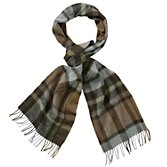 John Lewis Men Lambswool Check Scarf, Stone