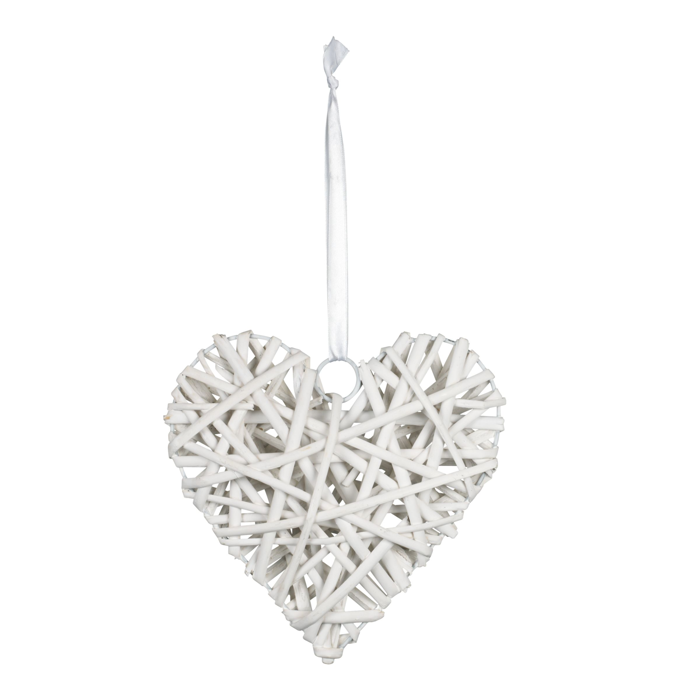 John Lewis Willow Heart Decorations, White