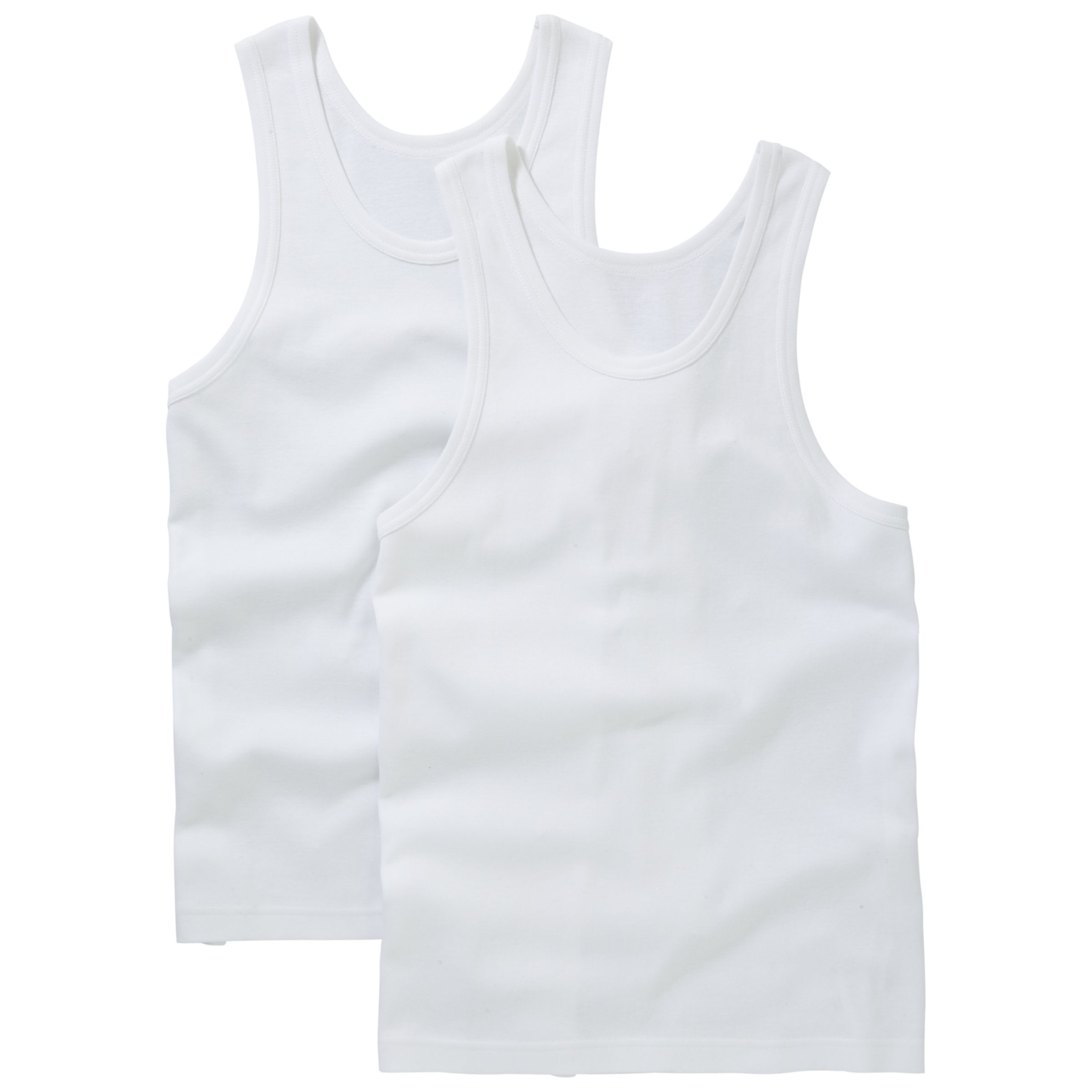 John Lewis Organic Cotton SInglet Vests, Pack of 2, White