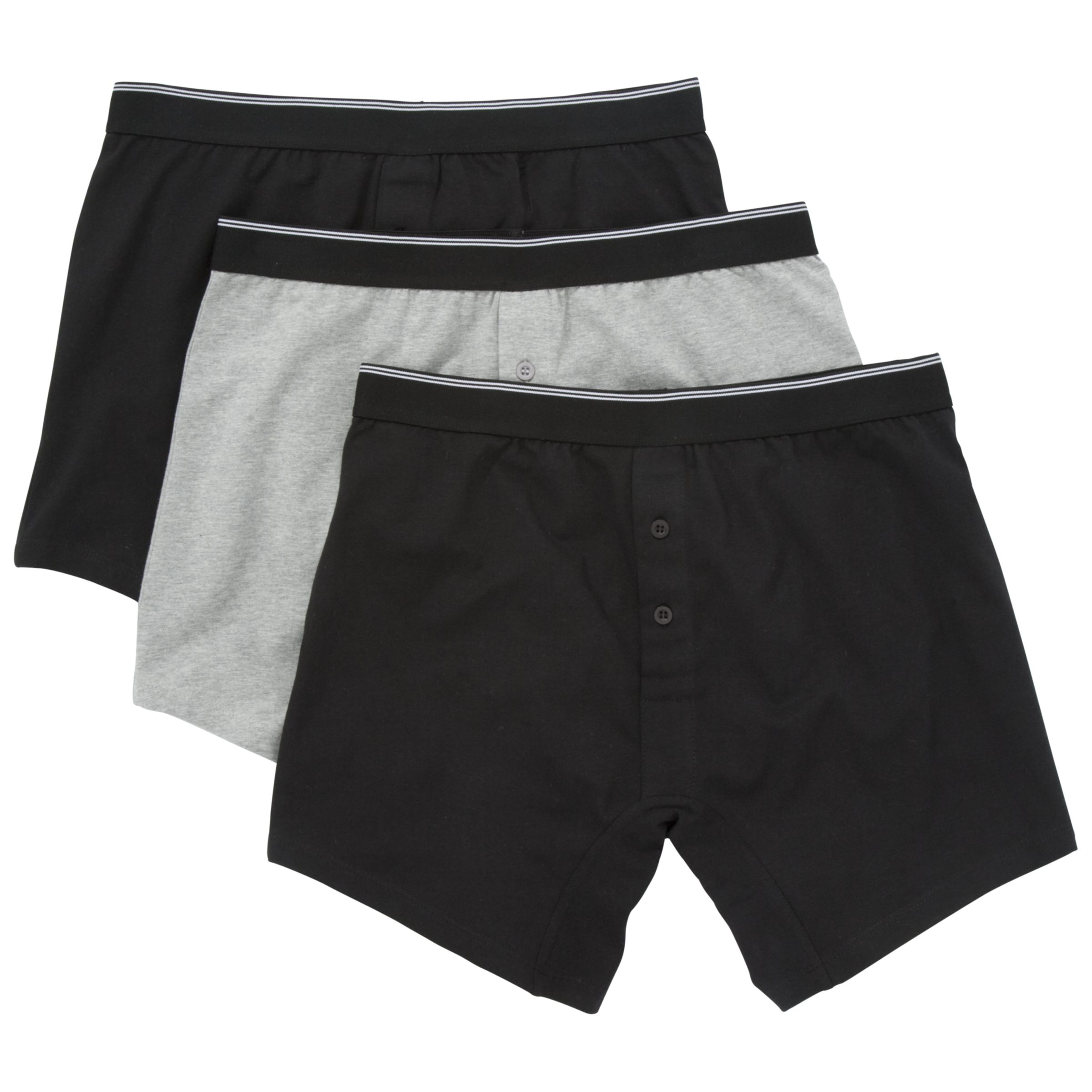John Lewis Organic Cotton Button Fly Trunks, Pack of 3, Black/Grey