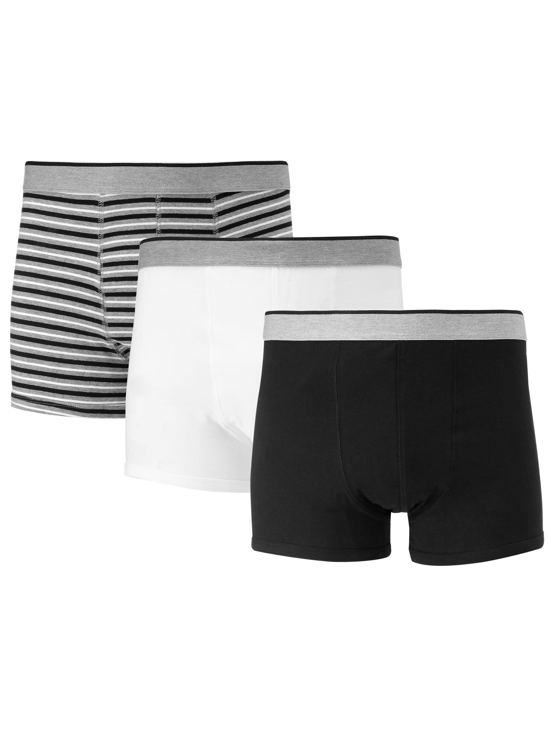 John Lewis Organic Cotton Hipster Trunks, Pack of 3, White/Grey/Black