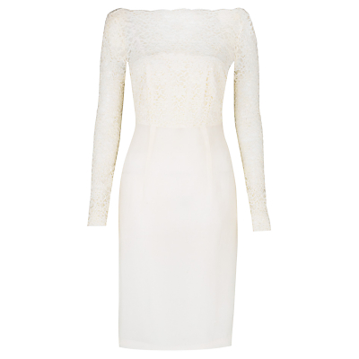 Buy L.K. Bennett Eloise Dress, Champagne online at JohnLewis.com - John Lewis :  lace wedding dress bateau