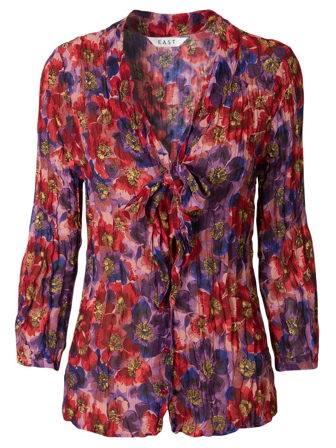 Amelia Crushed Bubble Blouse, Deep Viola