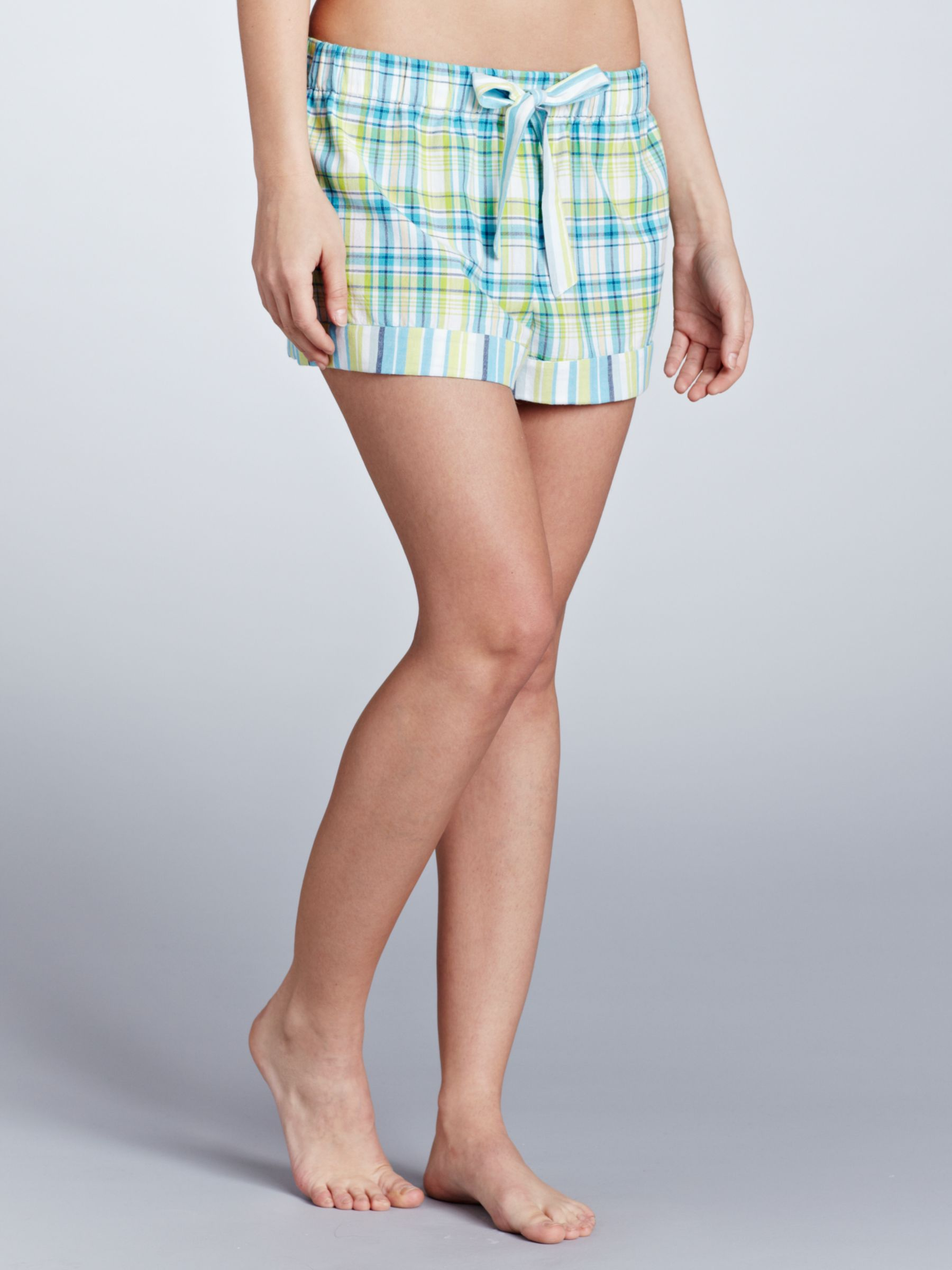 John Lewis Mix and Match Check Pyjama Shorts, Blue/Multi