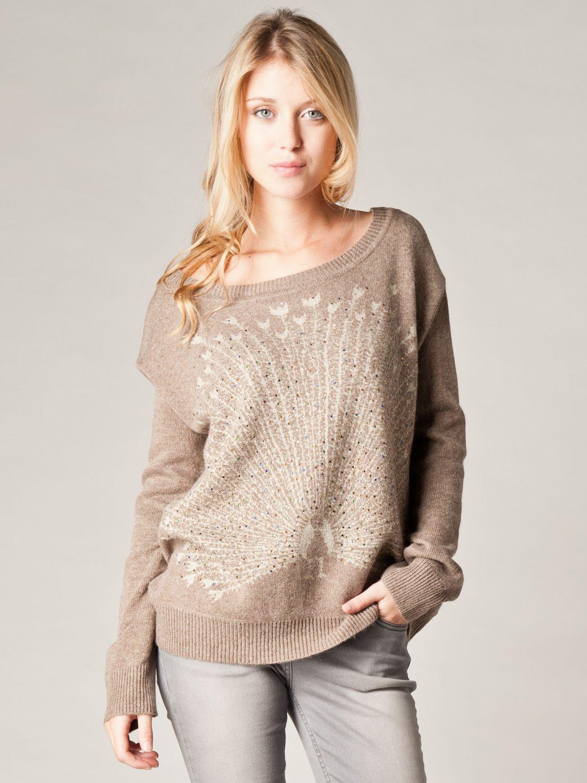 Kookai Peacock Motif Sweater, Camel