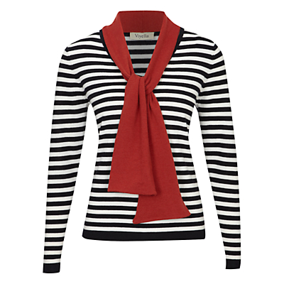 Buy Viyella Wool Stripe Tie Jumper, Navy online at JohnLewis.com - John Lewis :  wool tie neck autumn fall