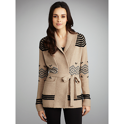 Buy G rard Darel Fair Isle Belted Cardi Coat Beige online at JohnLewis com John Lewis from johnlewis.com