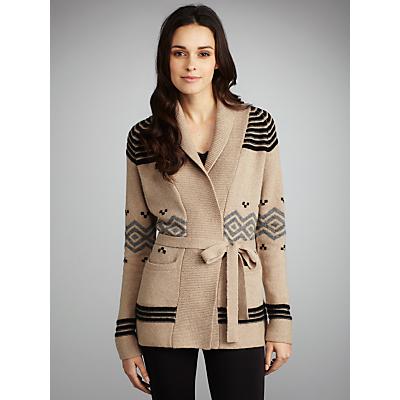 Buy Gérard Darel Fair Isle Belted Cardi Coat, Beige online at JohnLewis.com - John Lewis