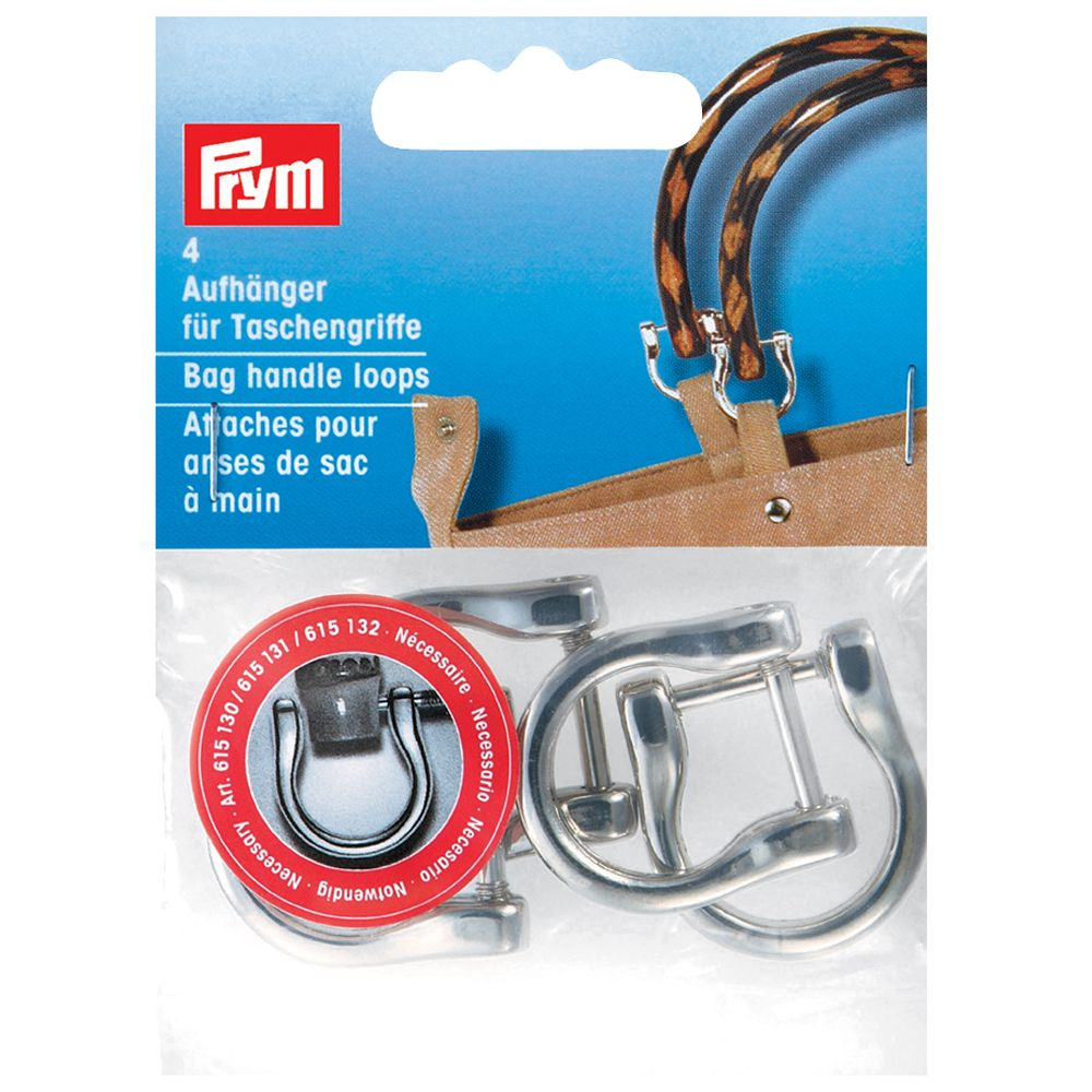 Prym Metal Bag Handle Shackle Clasps, Silver Effect, Pack of 4