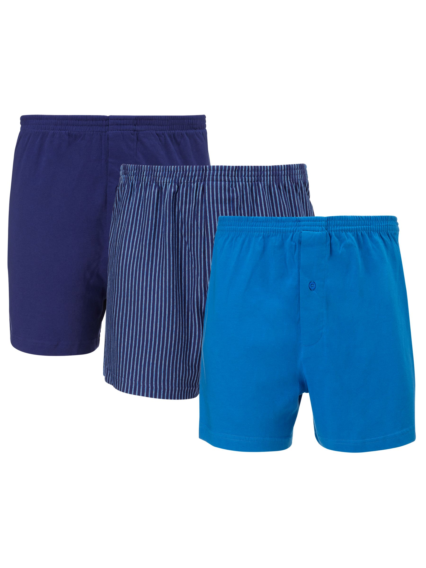 John Lewis Organic Jersey Cotton Boxers, Pack of 3, Blue